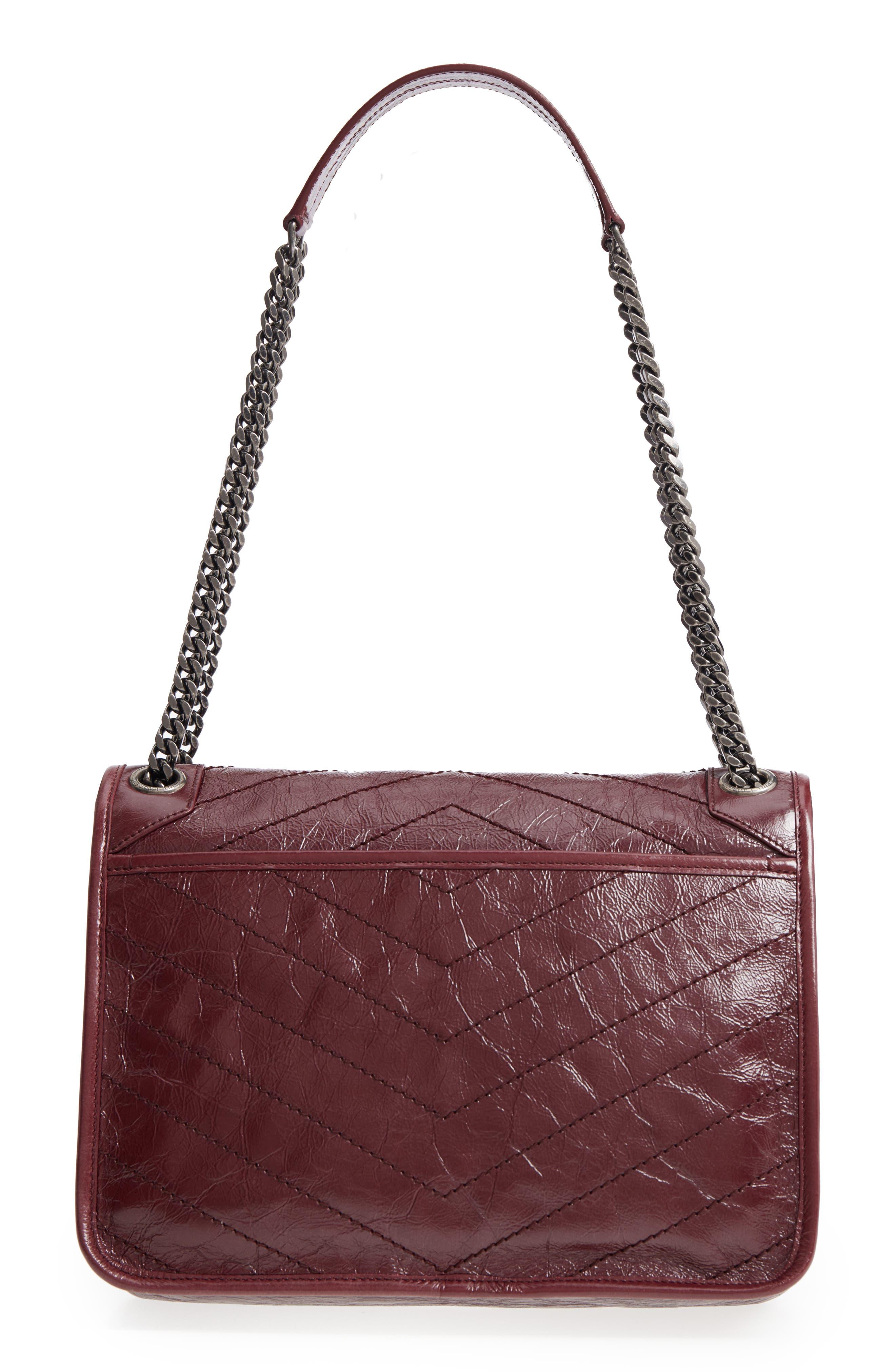 Medium Niki Leather Shoulder Bag,                             Alternate thumbnail 3, color,                             Rouge Legion