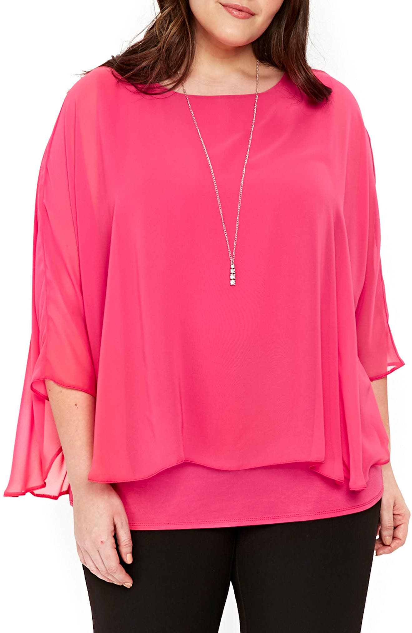 Evans Overlay Top with Necklace (Plus Size)
