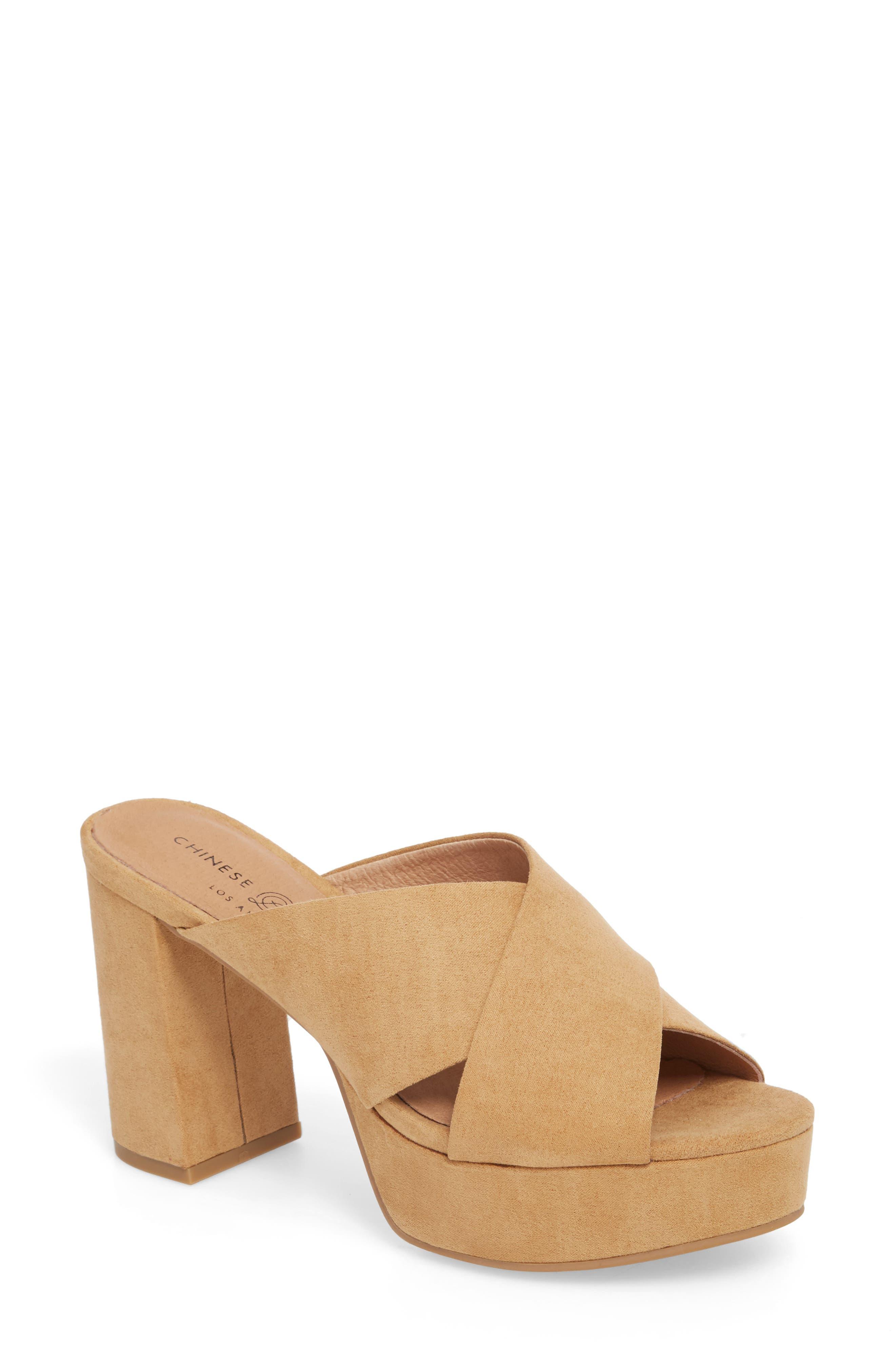 Teagan Cross Strap Platform Sandal,                             Main thumbnail 1, color,                             Camel