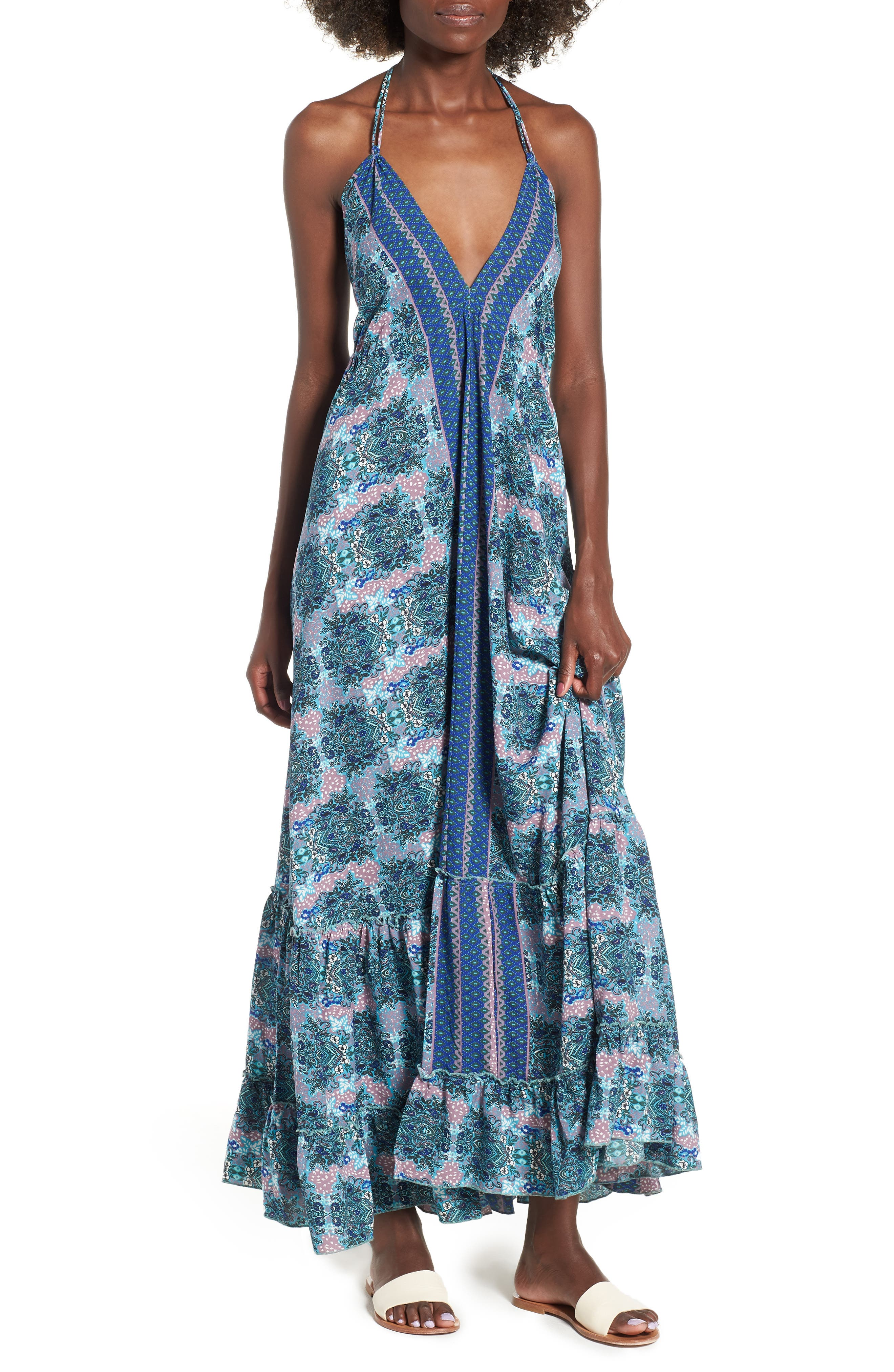 Poetic Dreams Halter Maxi Dress,                         Main,                         color, Blue