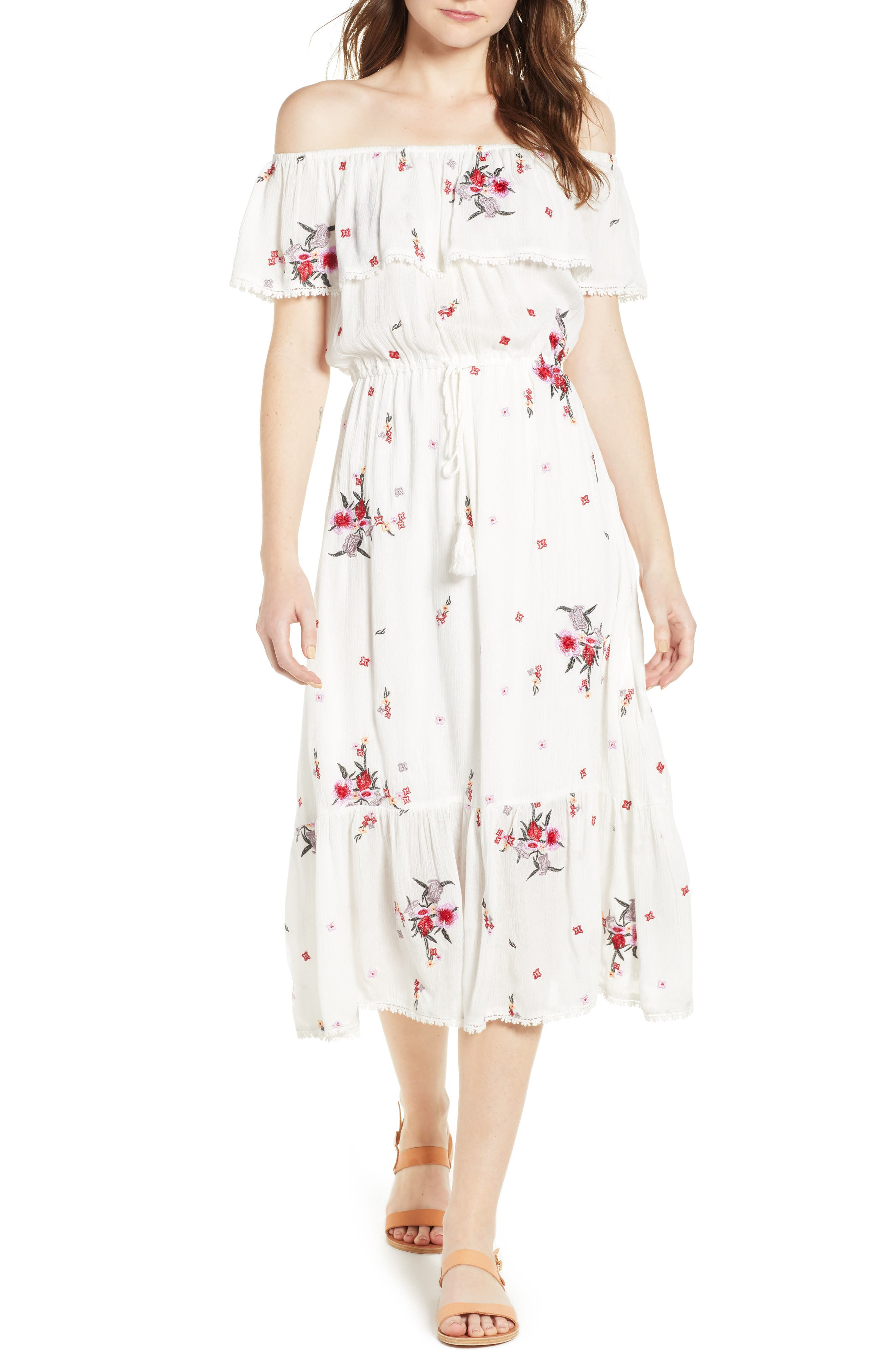 Senorita Embroidered Off the Shoulder Midi Dress,                             Main thumbnail 1, color,                             White Floral