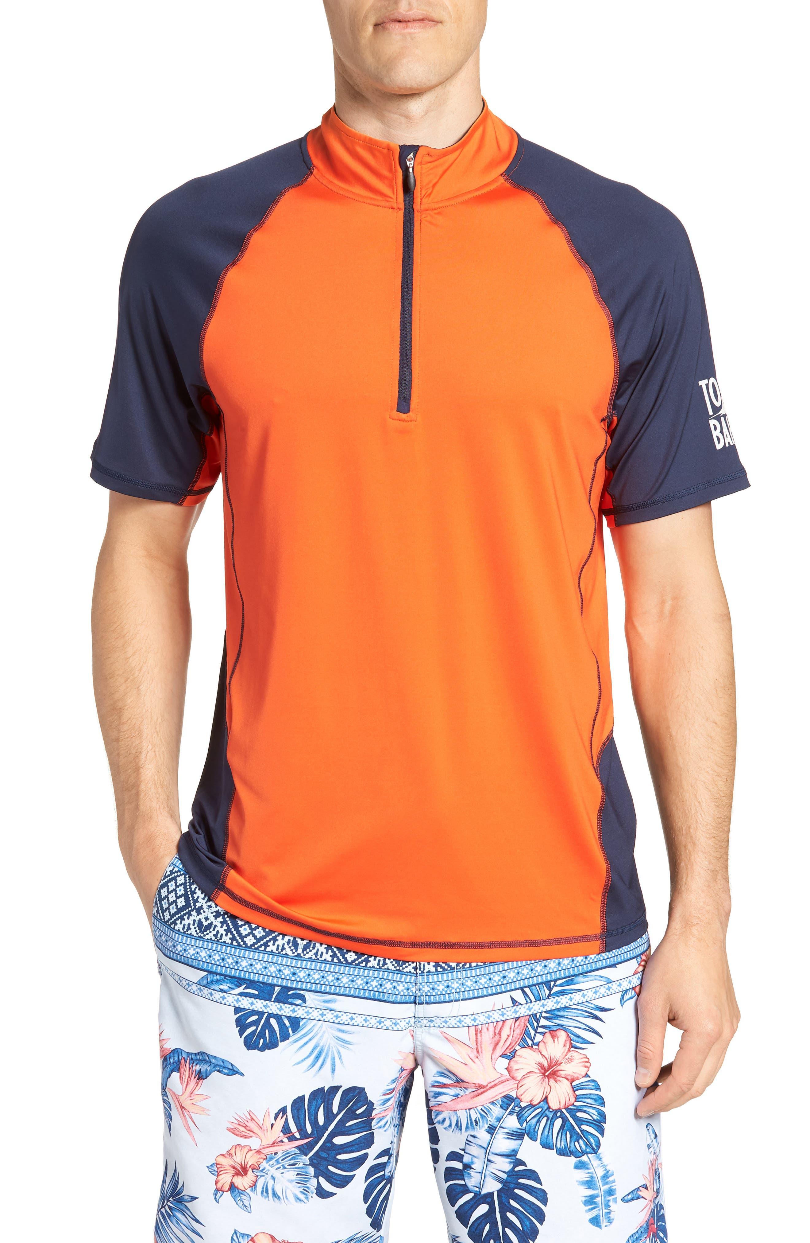IslandActive<sup>™</sup> Colorblock Beach Pro Rashguard T-Shirt,                             Main thumbnail 1, color,                             Fire Orange
