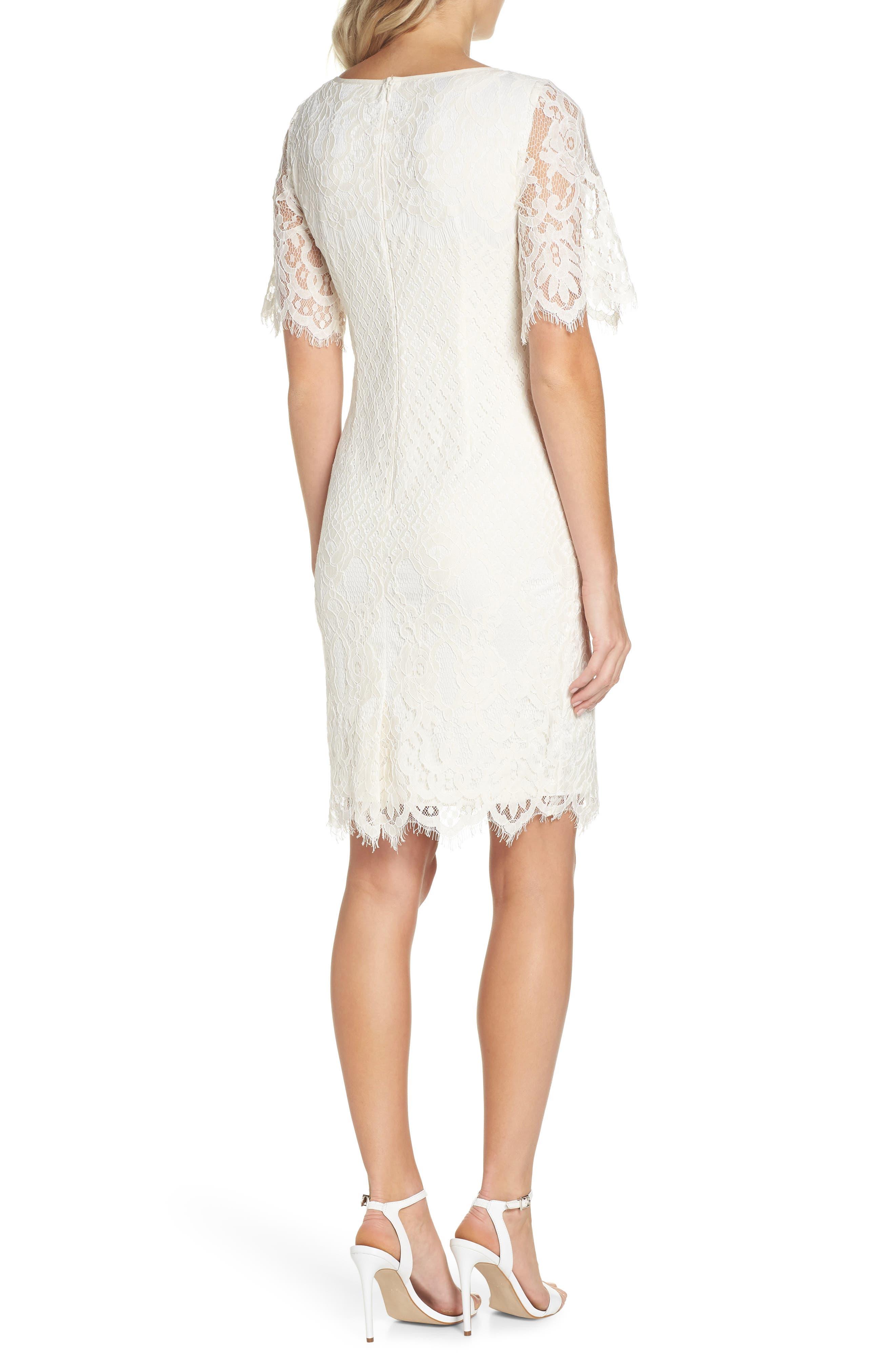 Georgia Scalloped Lace Sheath Dress,                             Alternate thumbnail 2, color,                             Ivory