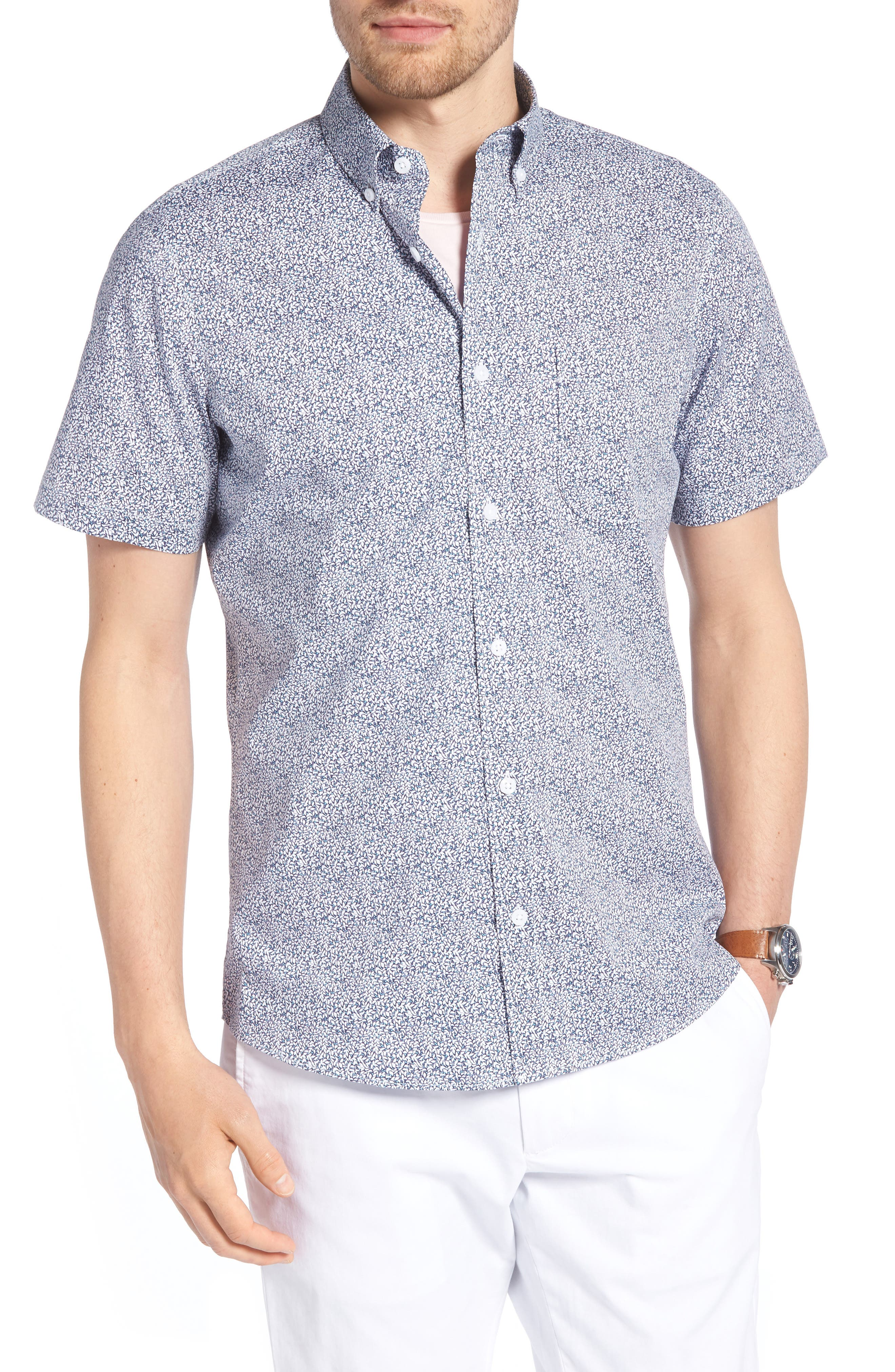 Trim Fit Leaf Print Sport Shirt,                         Main,                         color, Blue Leaf Print