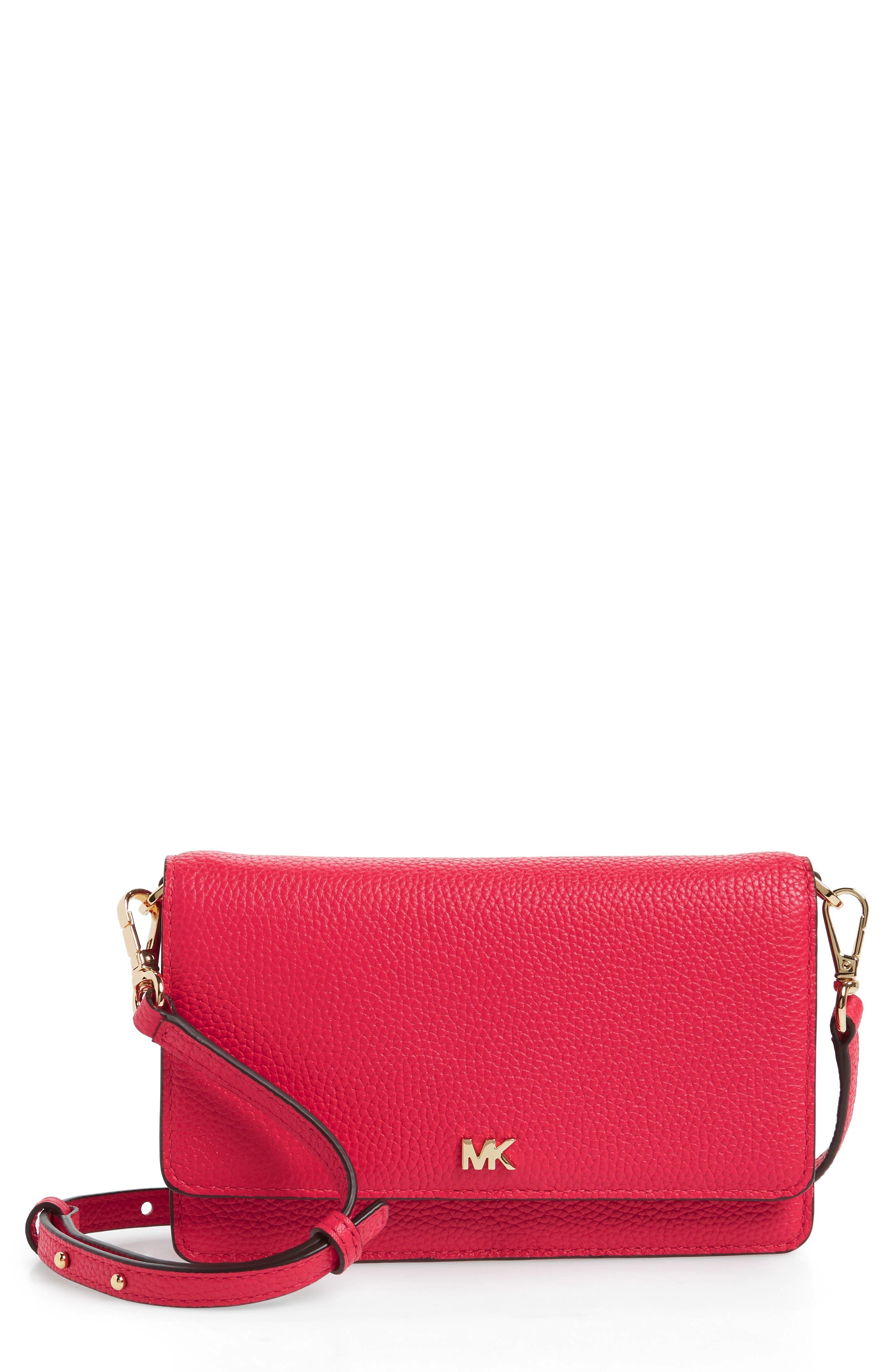Leather Crossbody Phone Wallet,                             Main thumbnail 1, color,                             Deep Pink