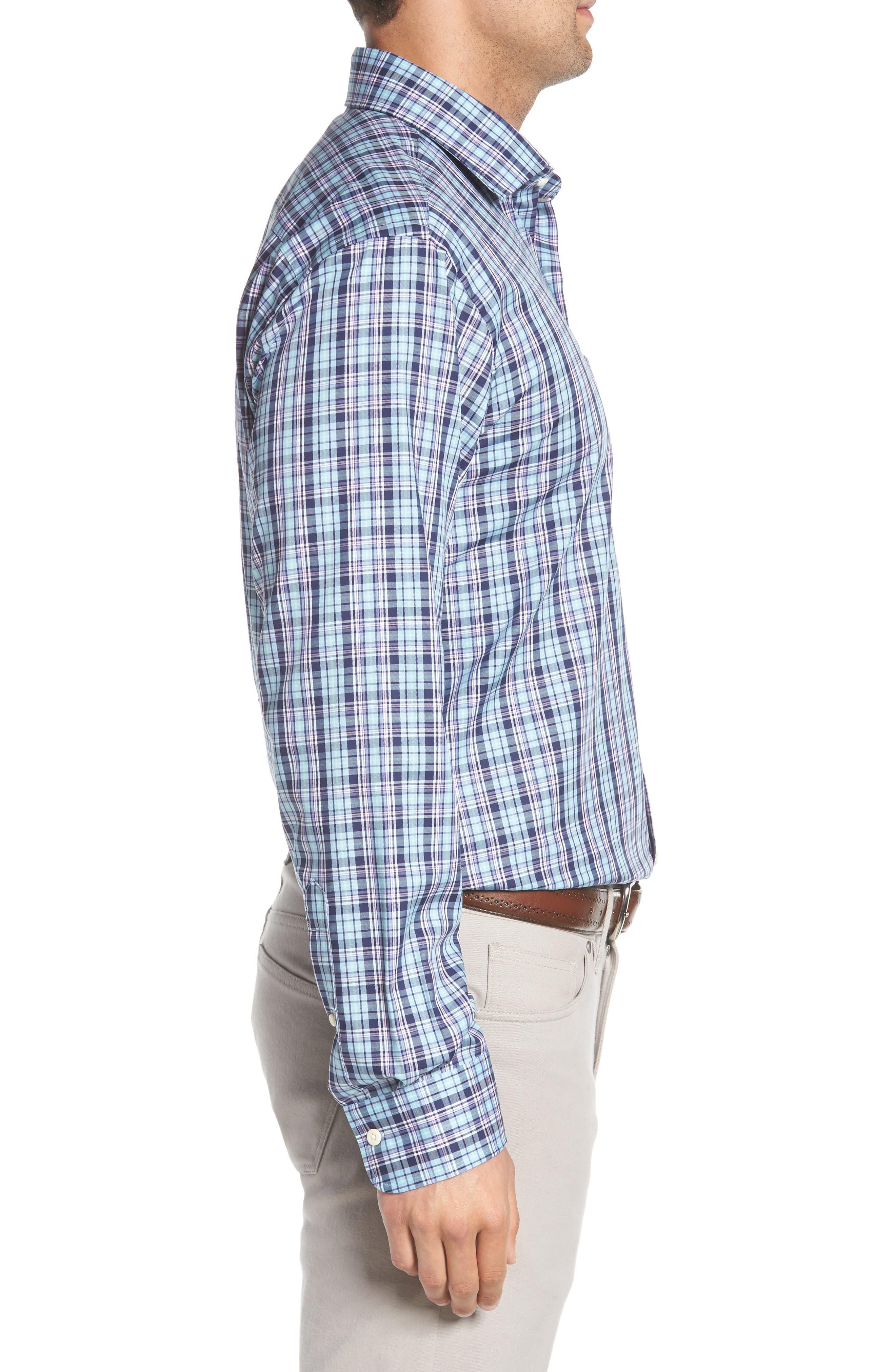 Crown Ease Laguna Plaid Sport Shirt,                             Alternate thumbnail 4, color,                             Tar Heel Blue