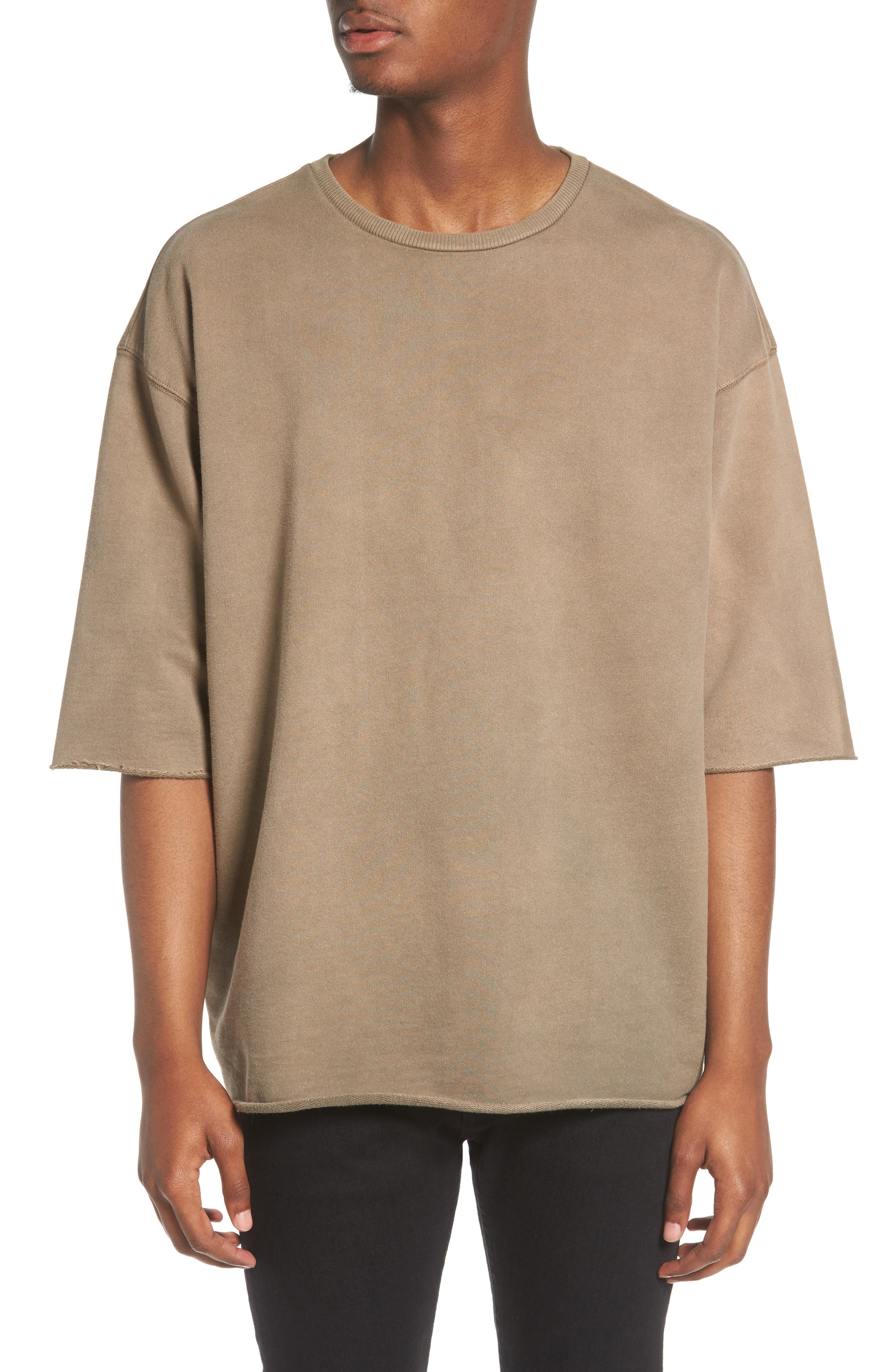 Washed Terry Pullover,                         Main,                         color, Olive Dusk
