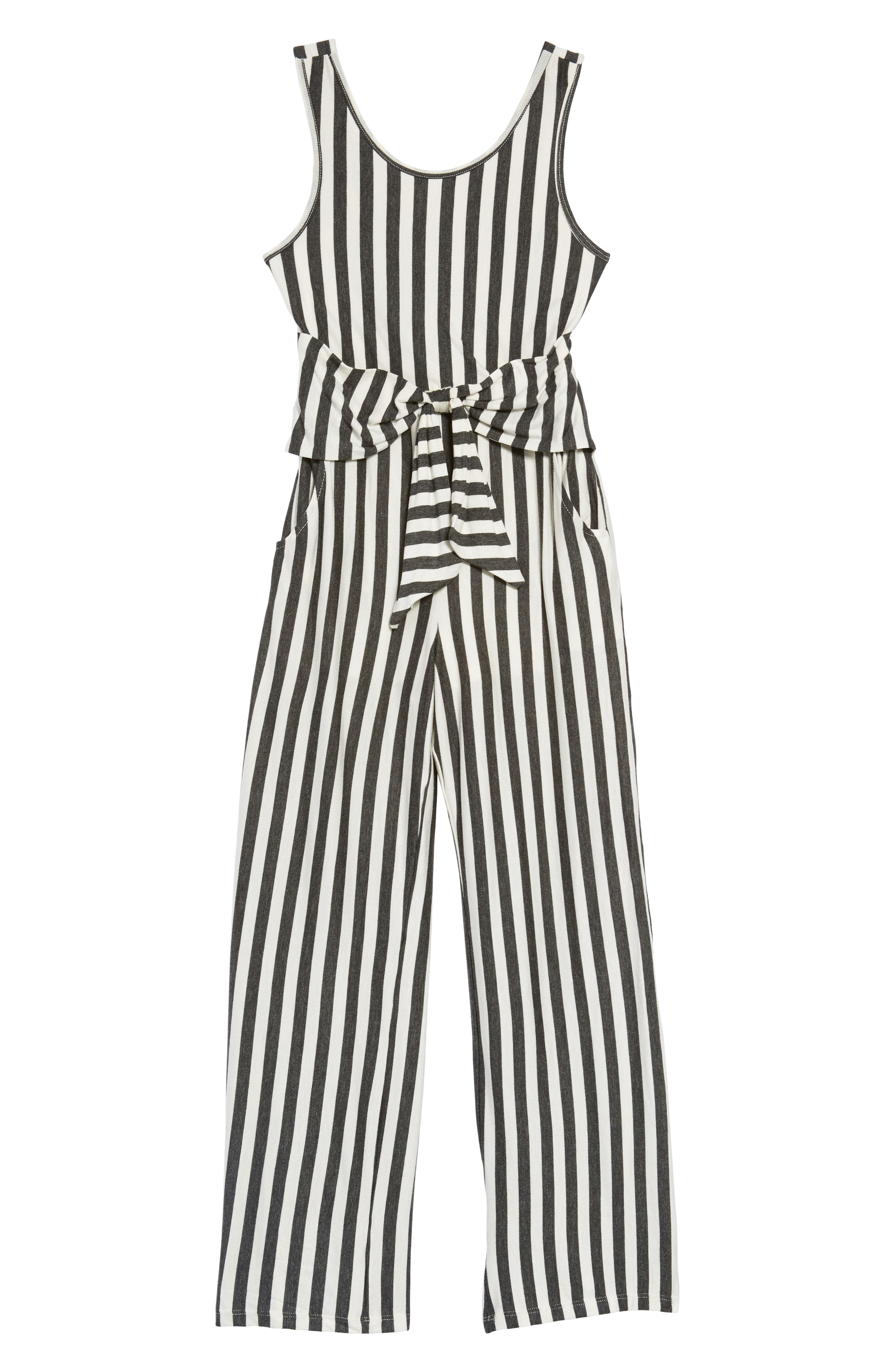 Stripe Tie Front Knit Jumpsuit,                             Main thumbnail 1, color,                             Grey/ Ivory