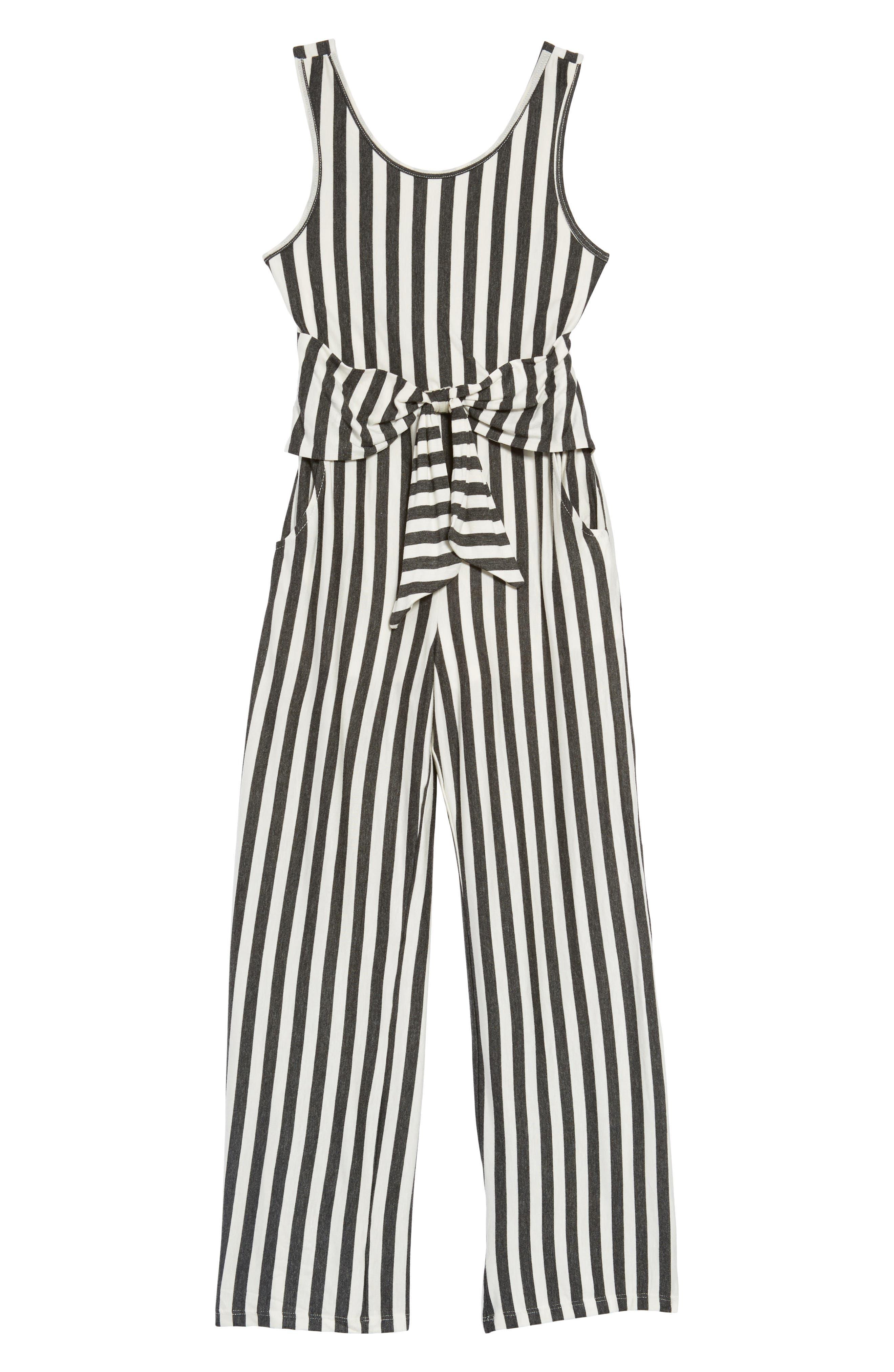 Stripe Tie Front Knit Jumpsuit,                         Main,                         color, Grey/ Ivory
