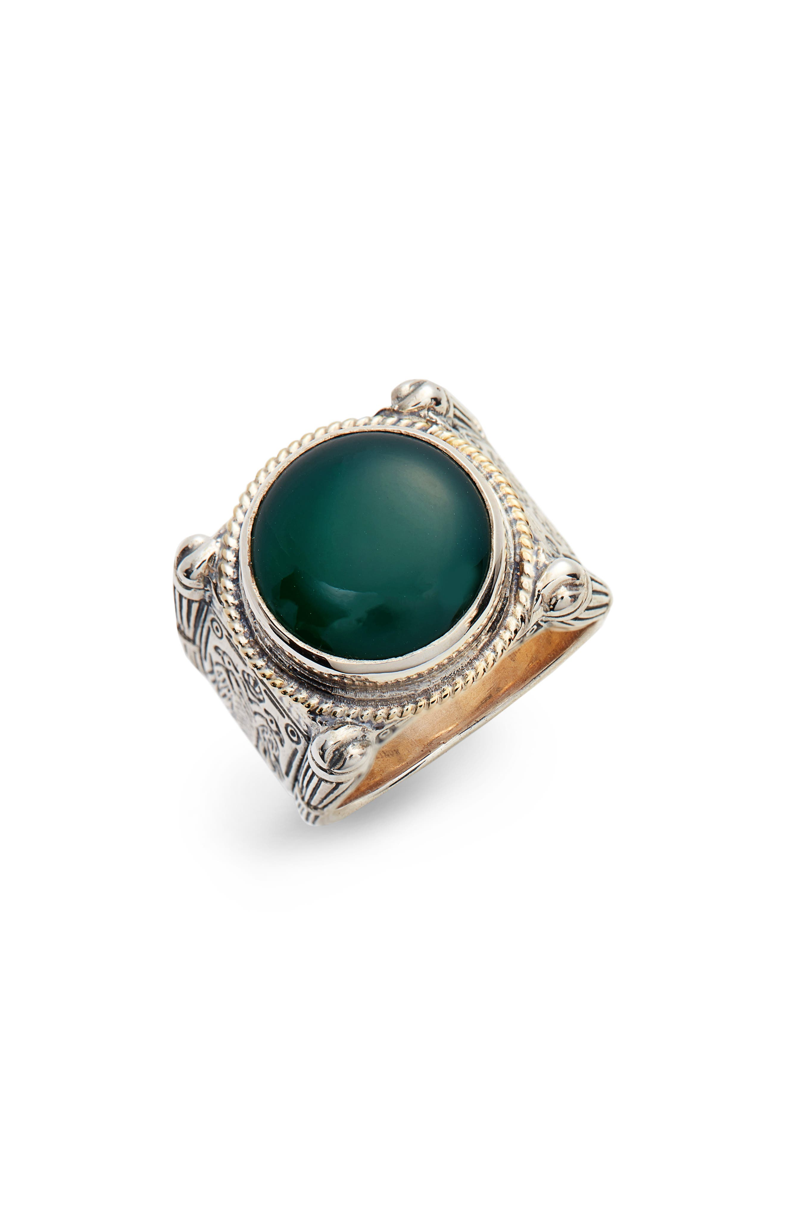 Konstantino Green Agate Ring
