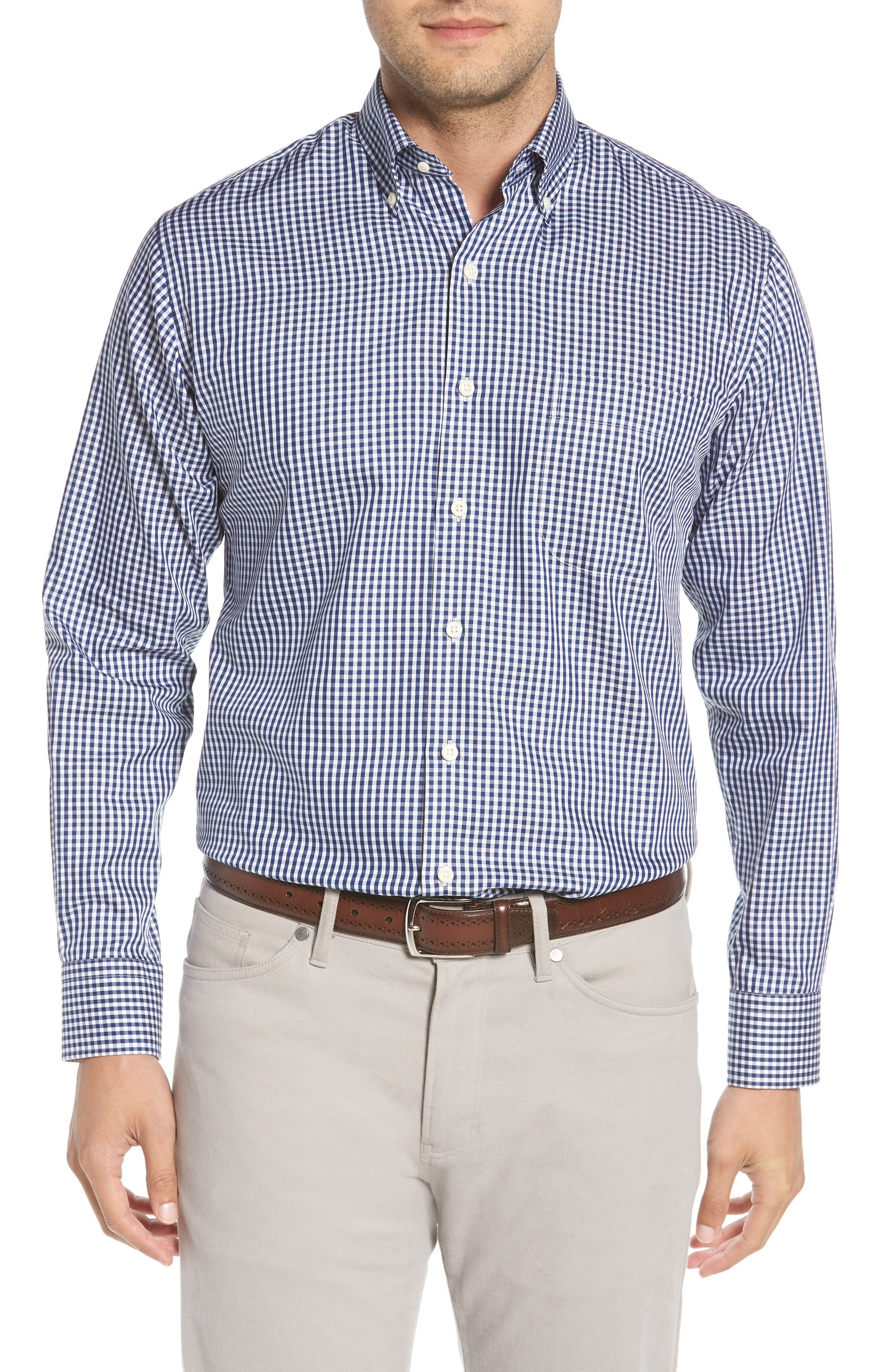 Crown Soft Gingham Sport Shirt,                         Main,                         color, Yankee Blue