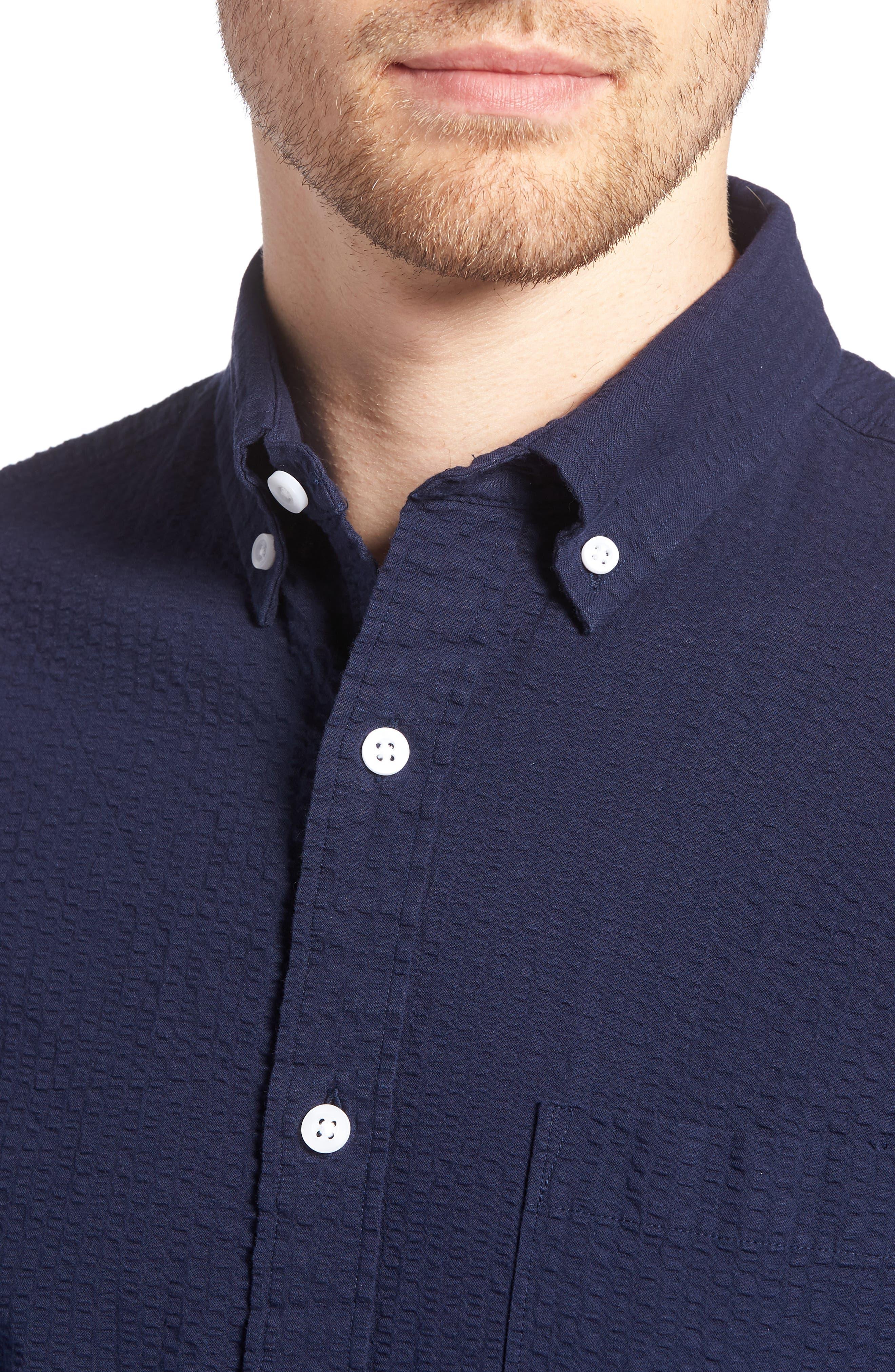 Trim Fit Seersucker Sport Shirt,                             Alternate thumbnail 2, color,                             Navy Iris Seersucker
