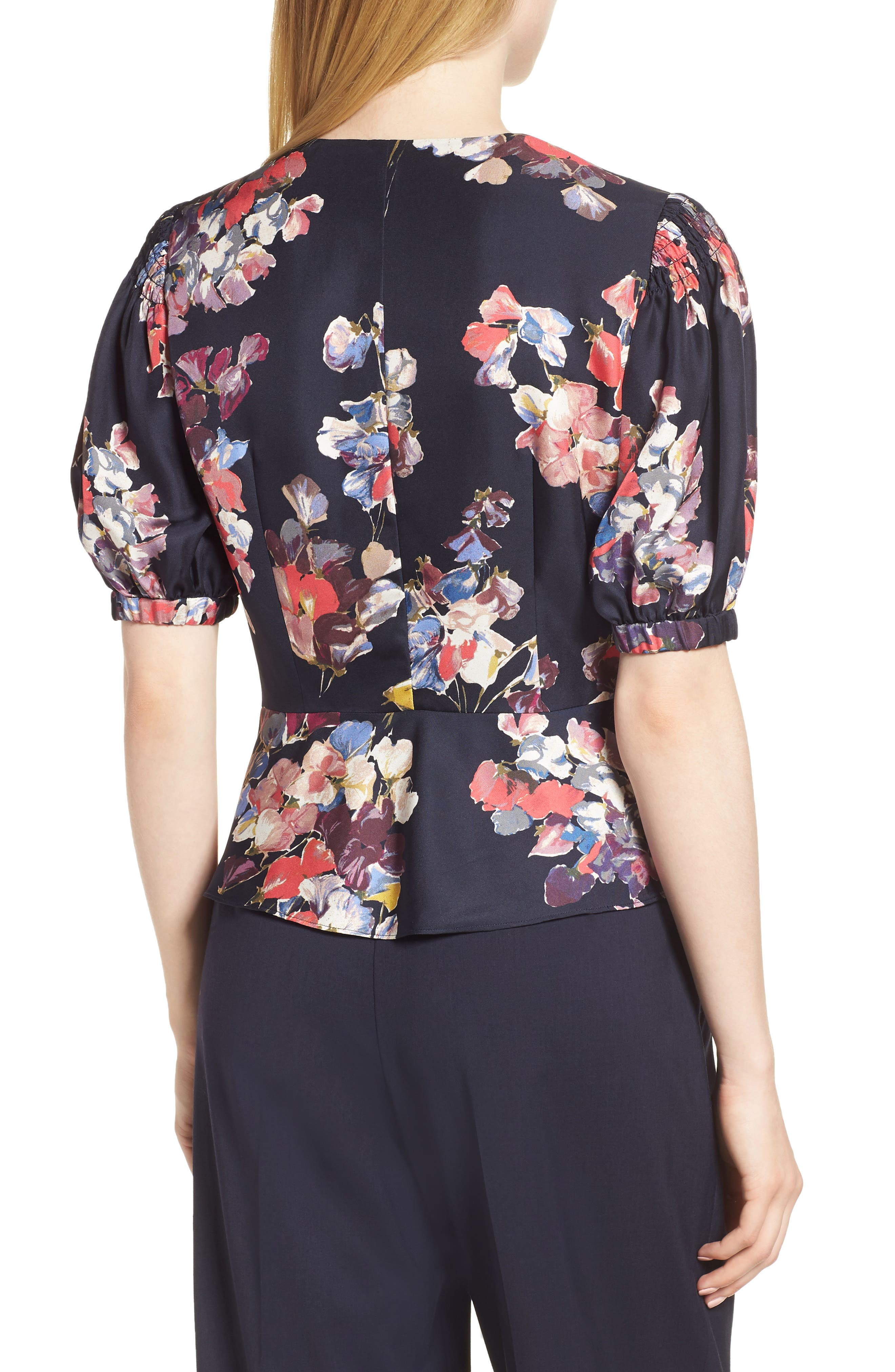 Puffed Sleeve Print Top,                             Alternate thumbnail 2, color,                             Navy Night Sheridan Floral
