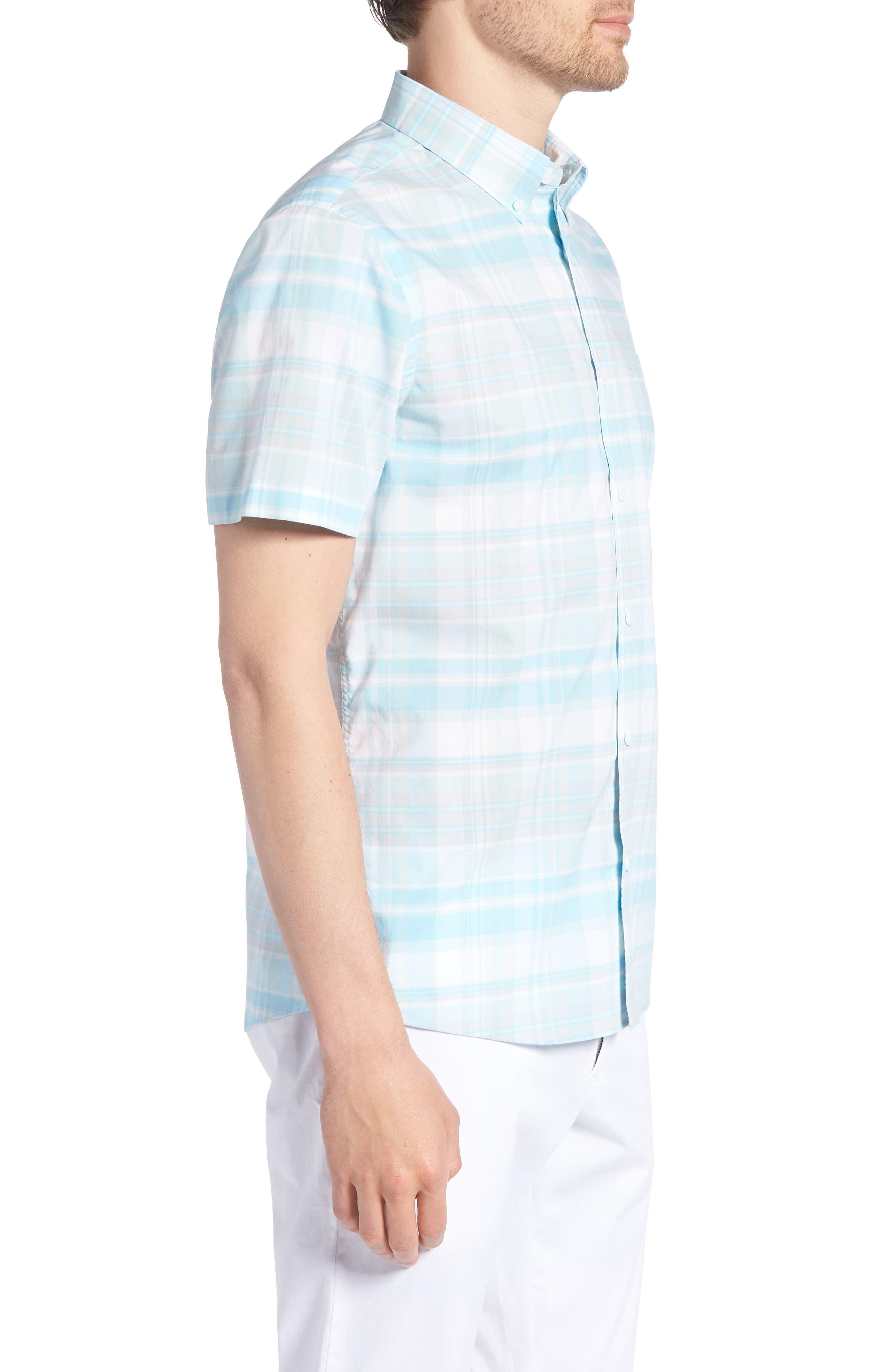 Trim Fit Plaid Sport Shirt,                             Alternate thumbnail 4, color,                             Blue Orydalis Teal Plaid