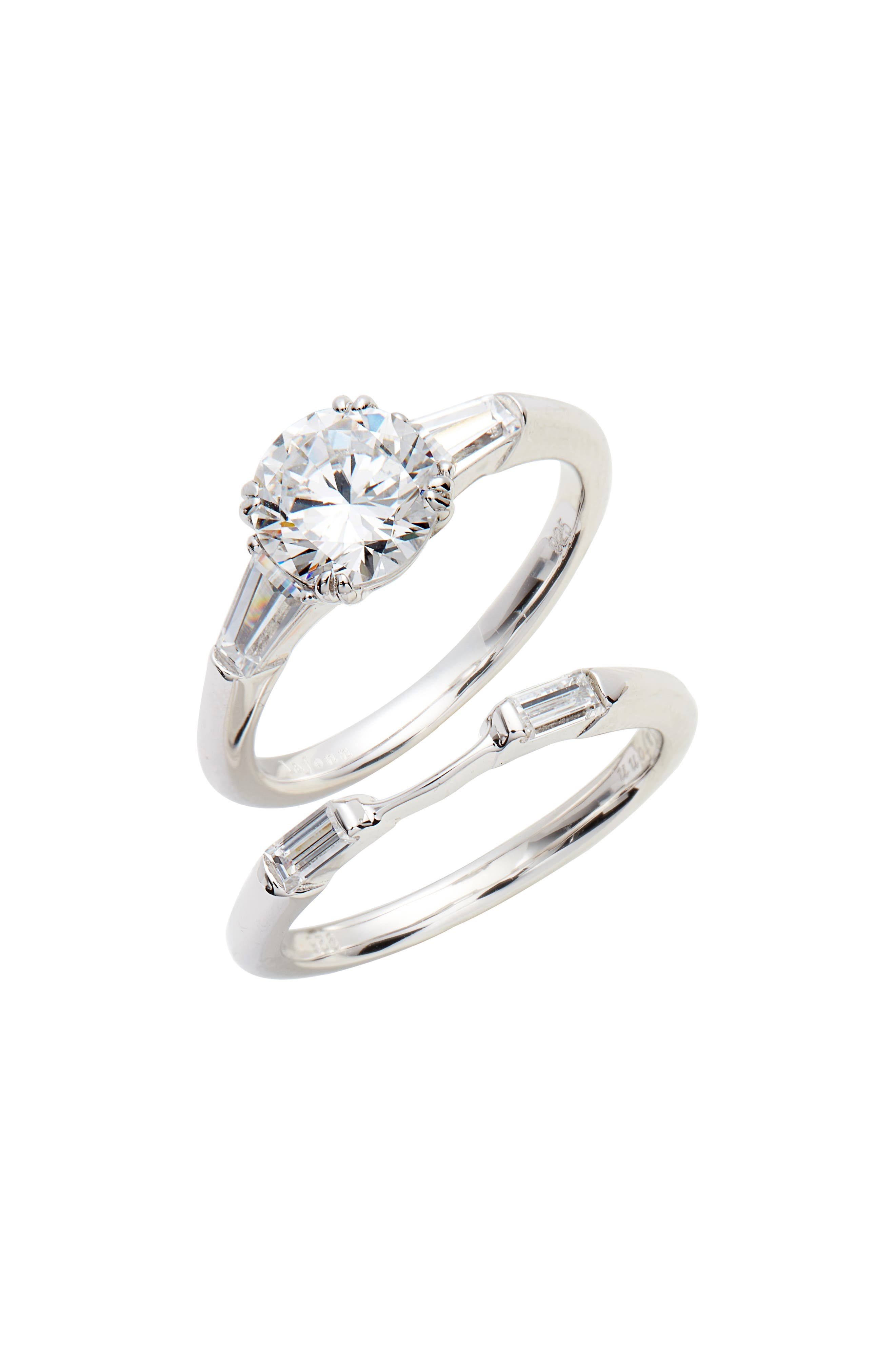 3-Stone Ring,                             Main thumbnail 1, color,                             Silver/ Clear