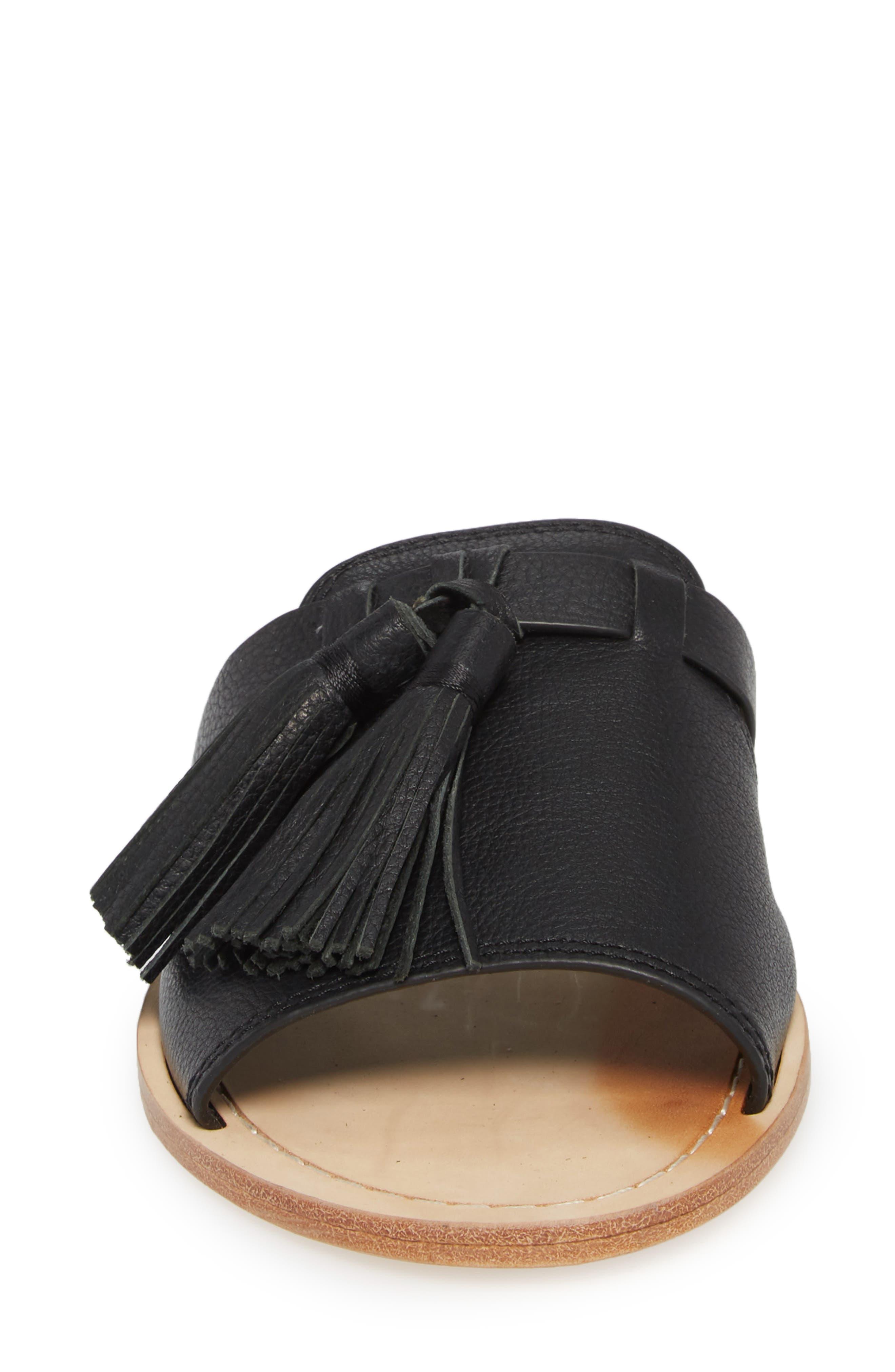 coby tassel slide sandal,                             Alternate thumbnail 4, color,                             Black