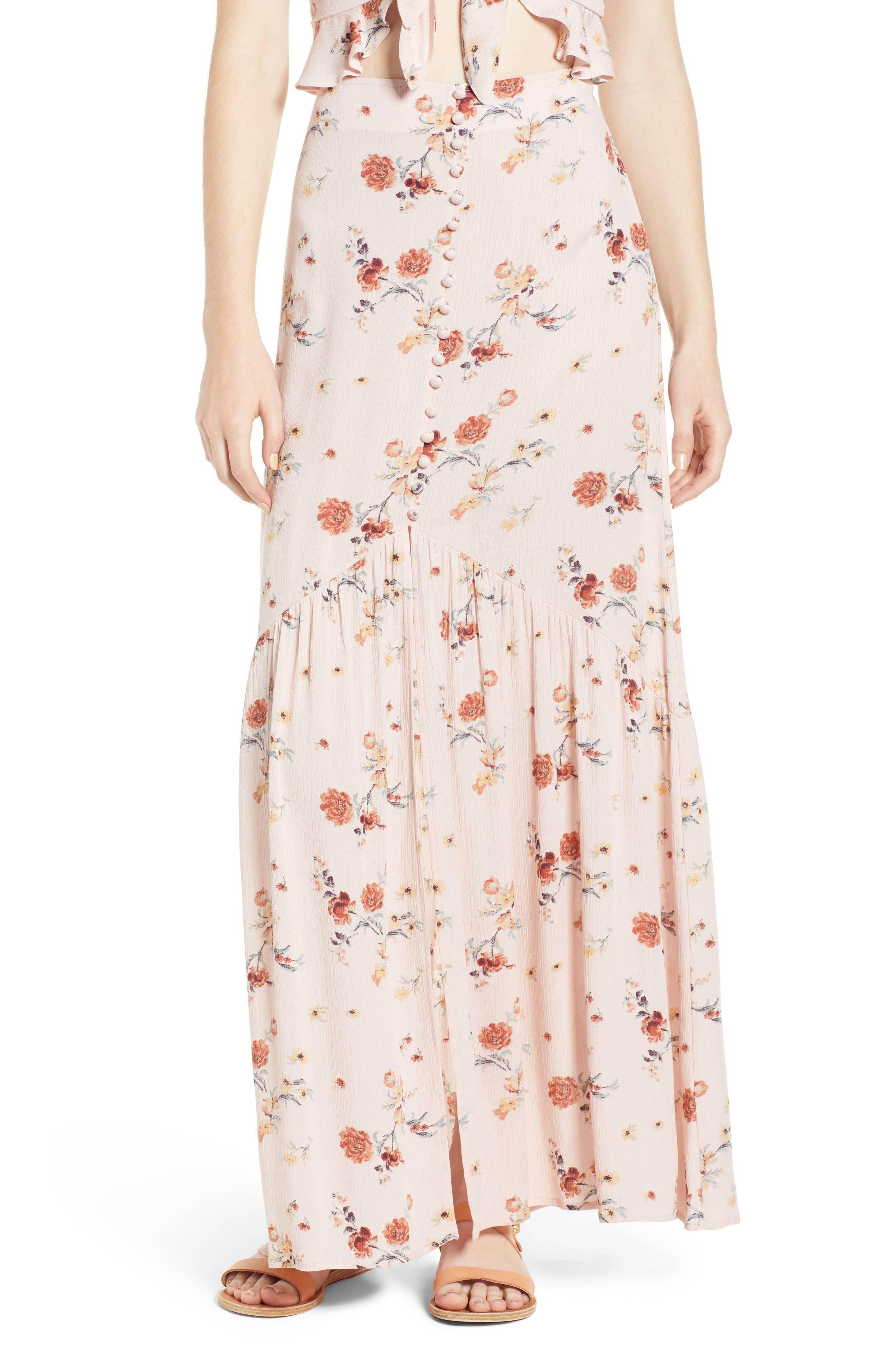 Rosa Floral Maxi Skirt,                             Main thumbnail 1, color,                             Pink Floral
