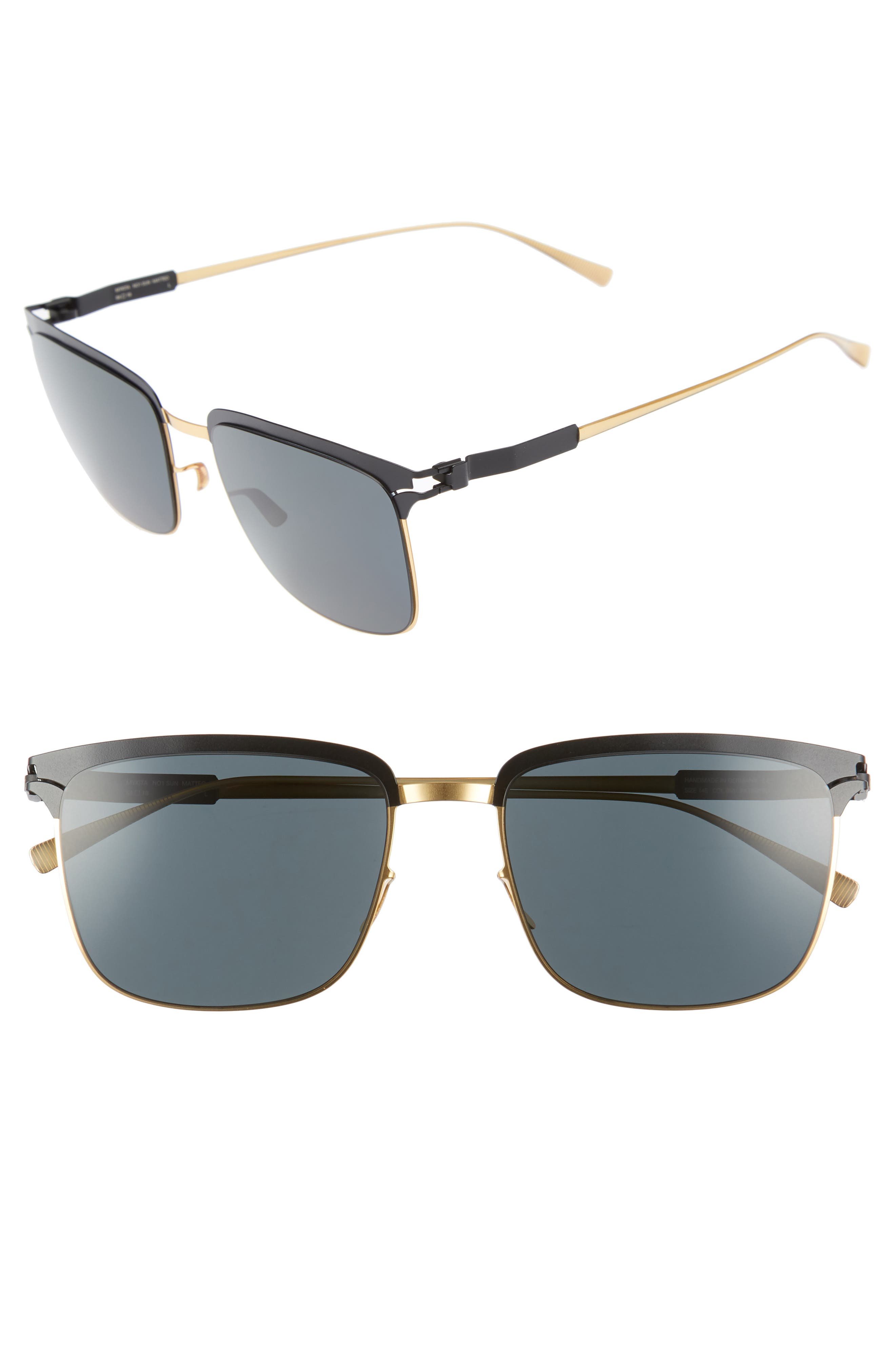 Matteo 54mm Polarized Sunglasses,                         Main,                         color, Gold/ Black