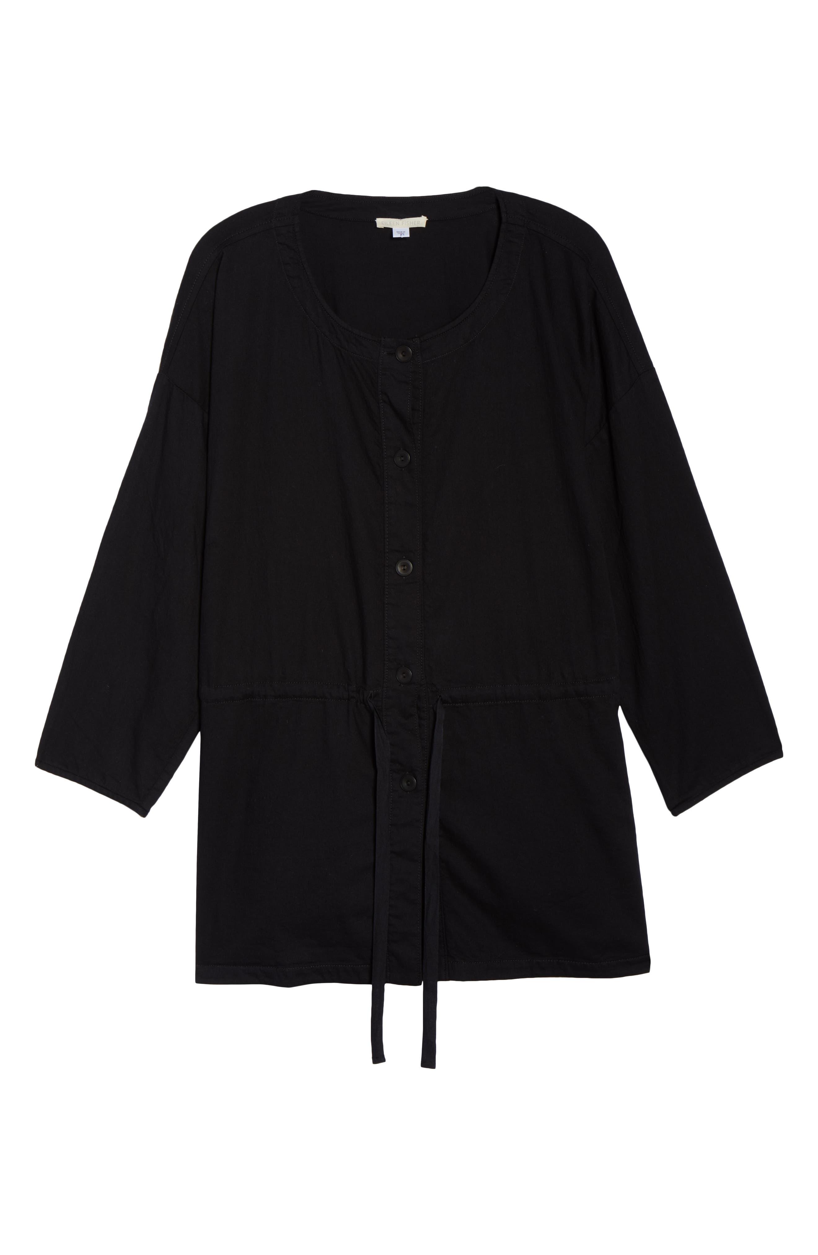 Shirttail Hem Organic Cotton Jacket,                             Alternate thumbnail 7, color,                             Black