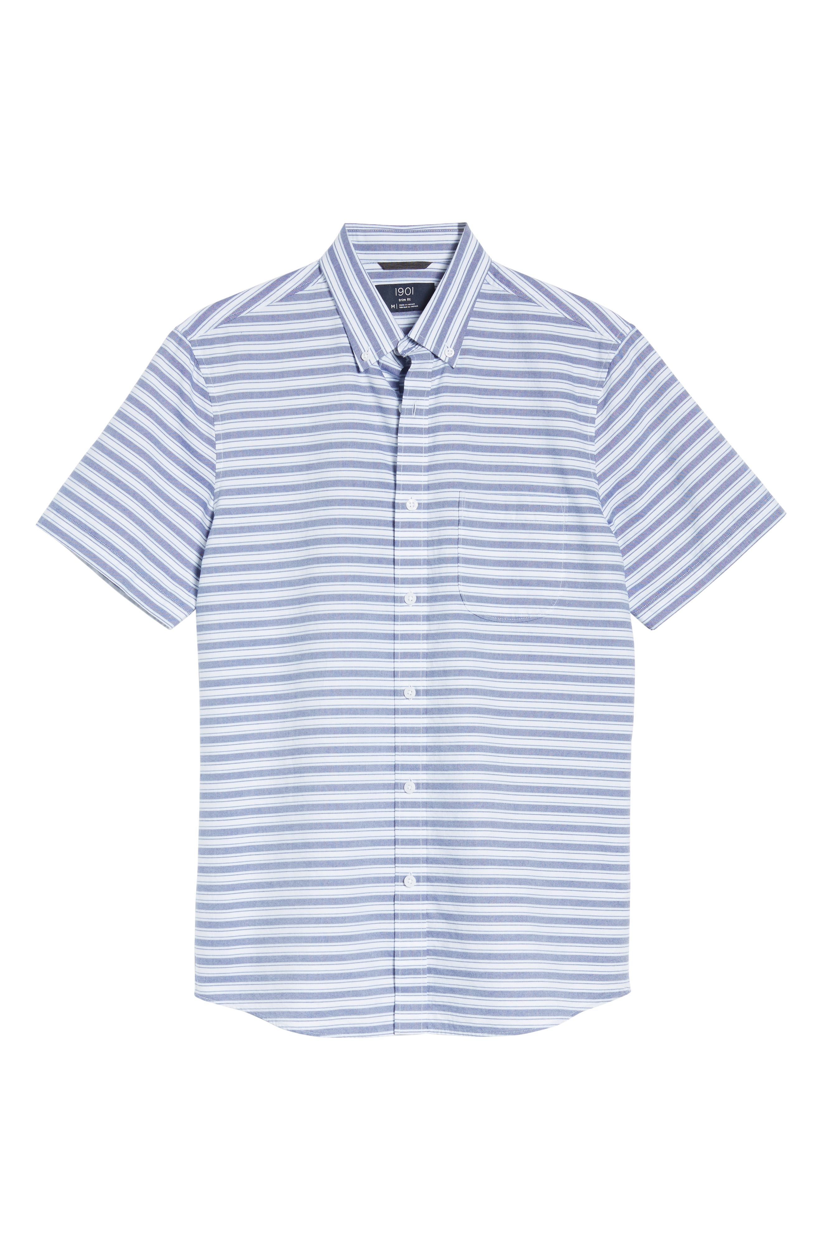 Trim Fit Stripe Round Pocket Sport Shirt,                             Alternate thumbnail 6, color,                             Tonal Blue Stripe