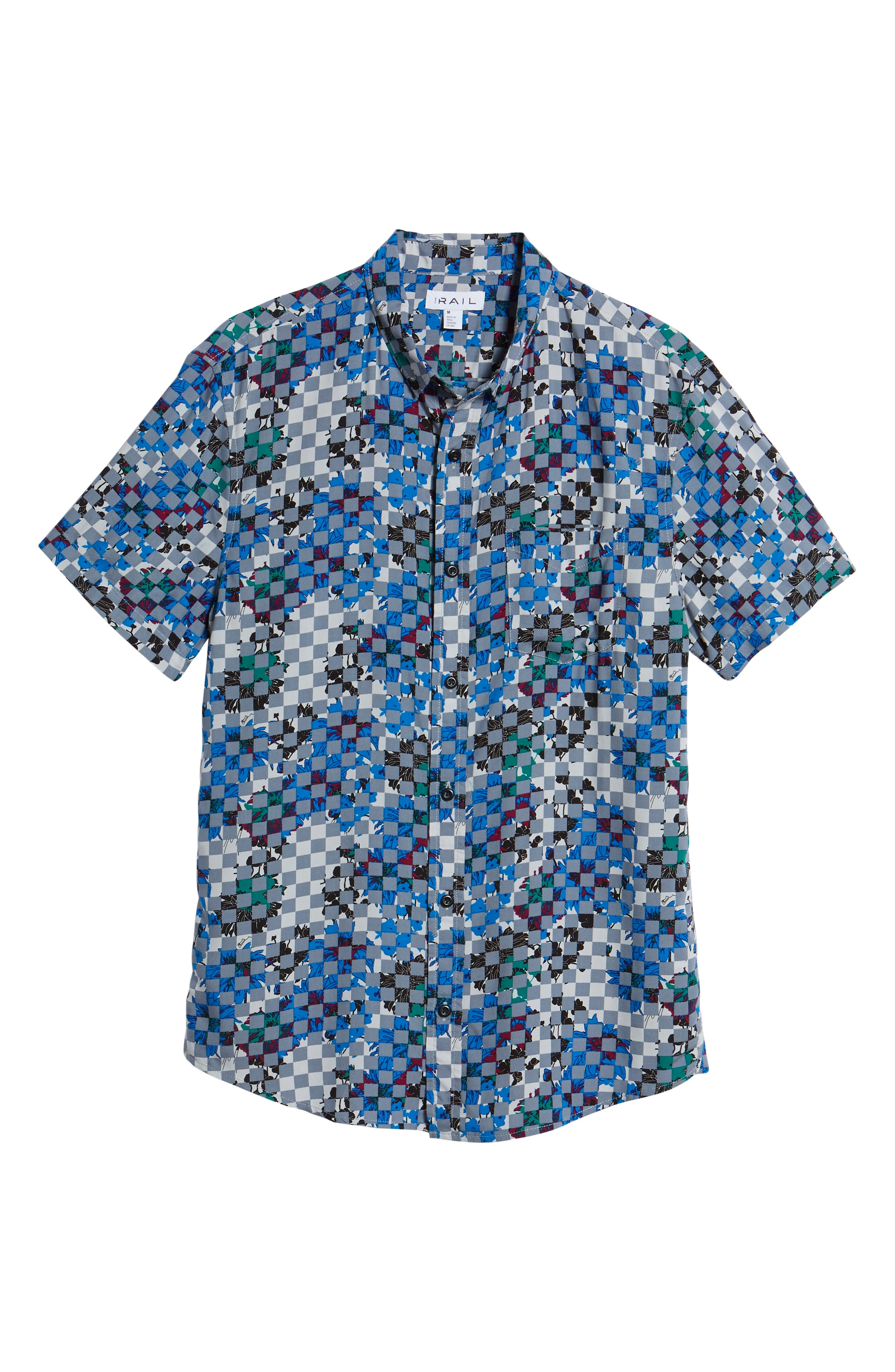 Woven Print Shirt,                             Alternate thumbnail 5, color,                             Grey Checker Board Floral