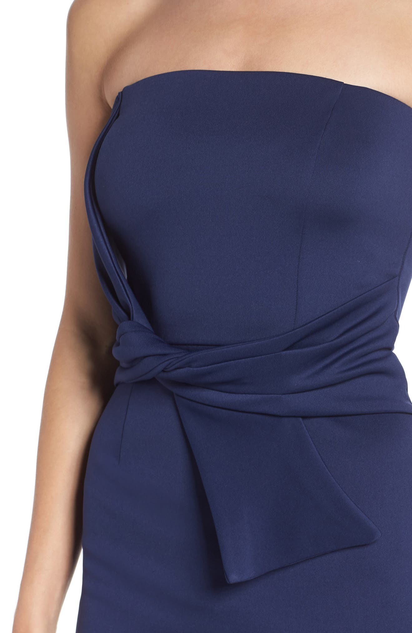 Strapless Tie Front Sheath Dress,                             Alternate thumbnail 4, color,                             Navy