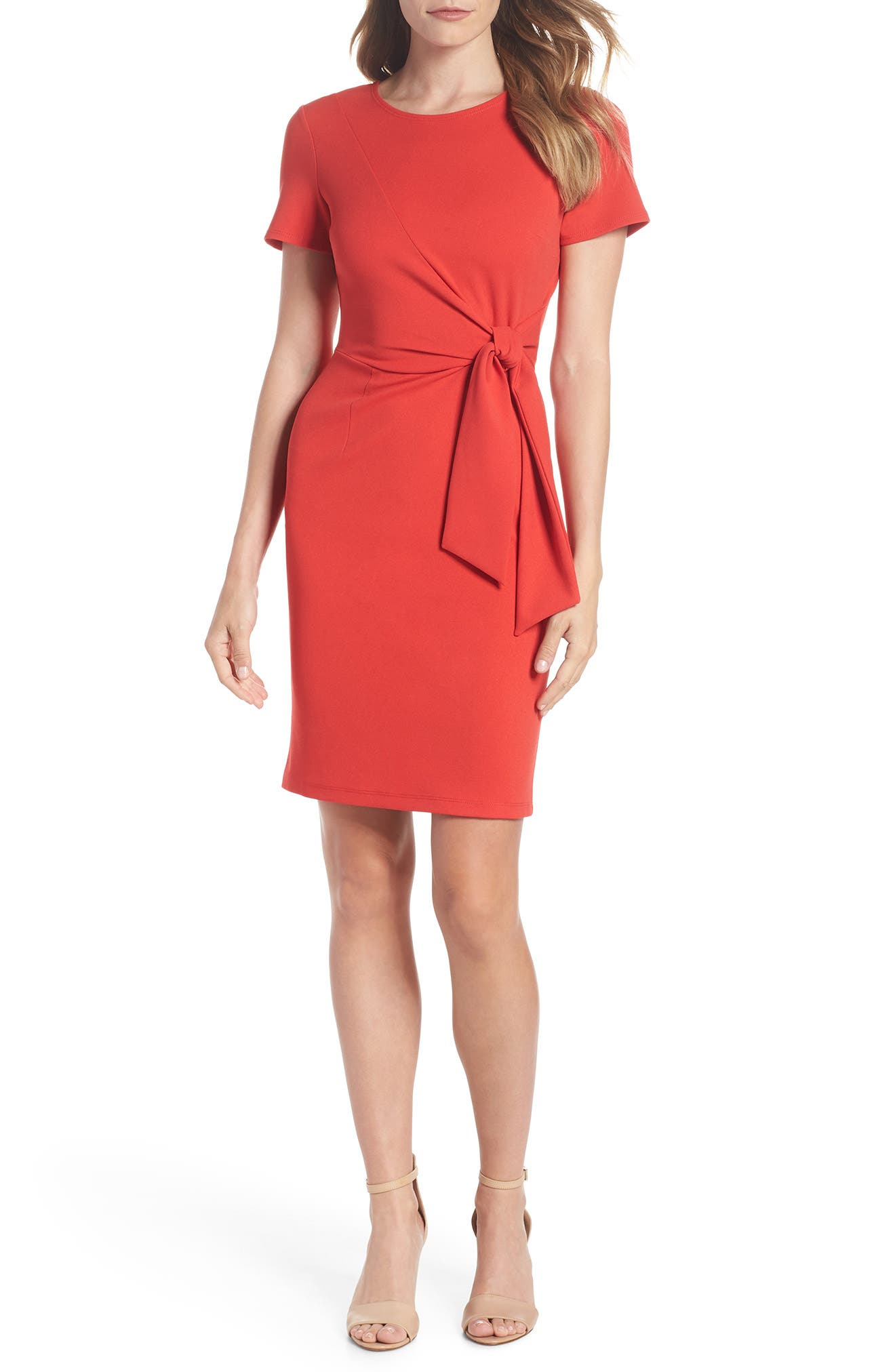 Tie Front Sheath Dress,                             Main thumbnail 1, color,                             Coral