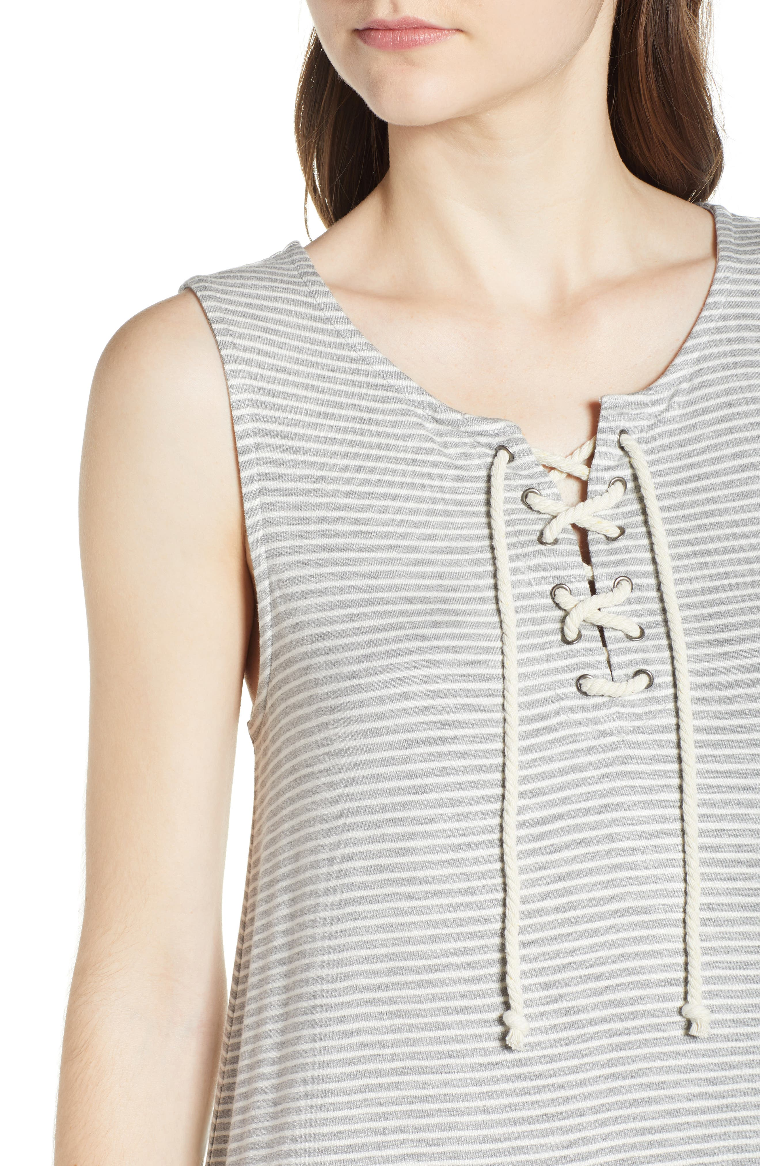 Dedrick Stripe Shift Dress,                             Alternate thumbnail 4, color,                             Light H. Grey