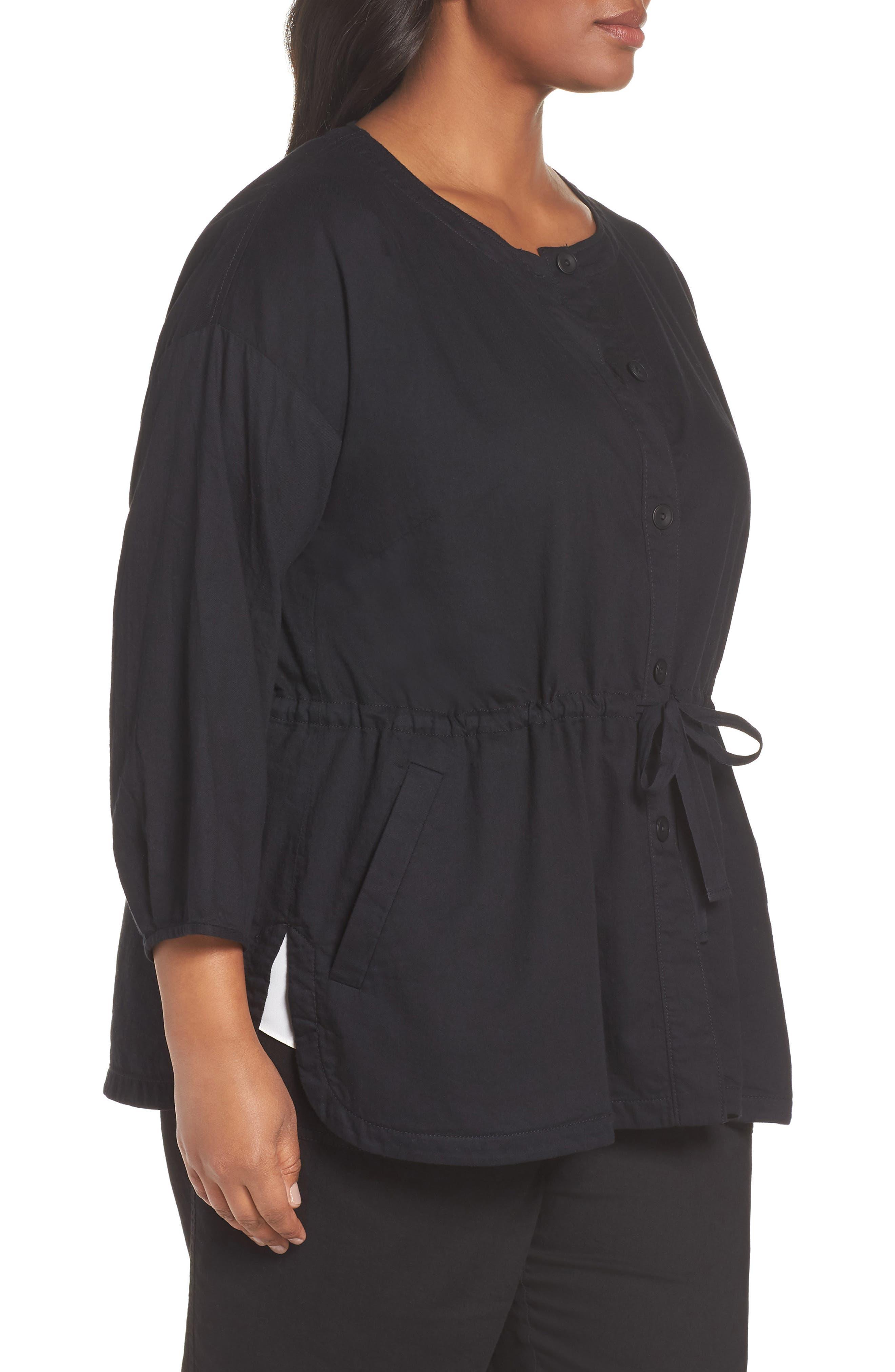 Shirttail Hem Organic Cotton Jacket,                             Alternate thumbnail 3, color,                             Black