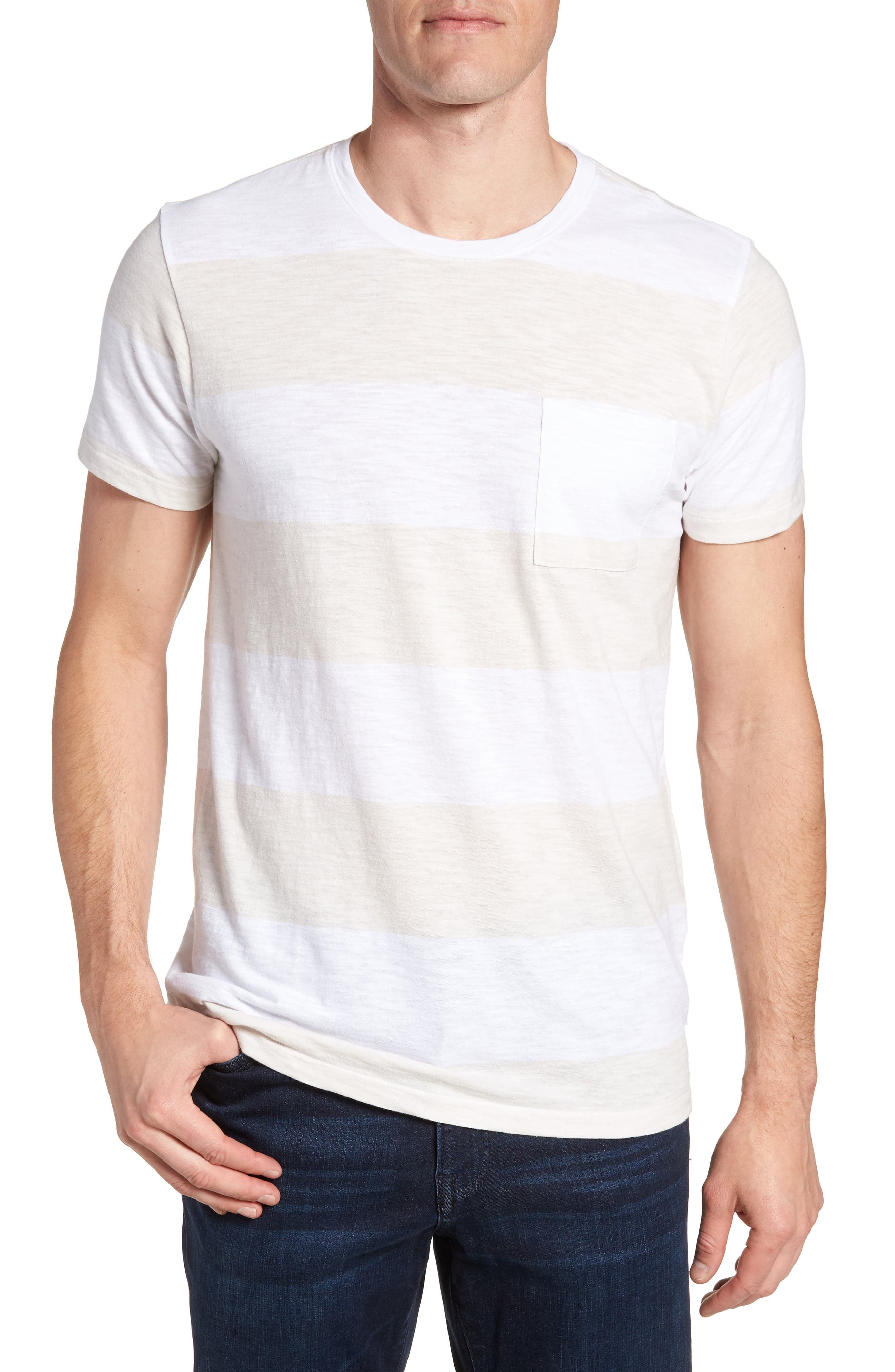 Block Stripe Slim Fit Pocket T-Shirt,                             Main thumbnail 1, color,                             White/ Seashell