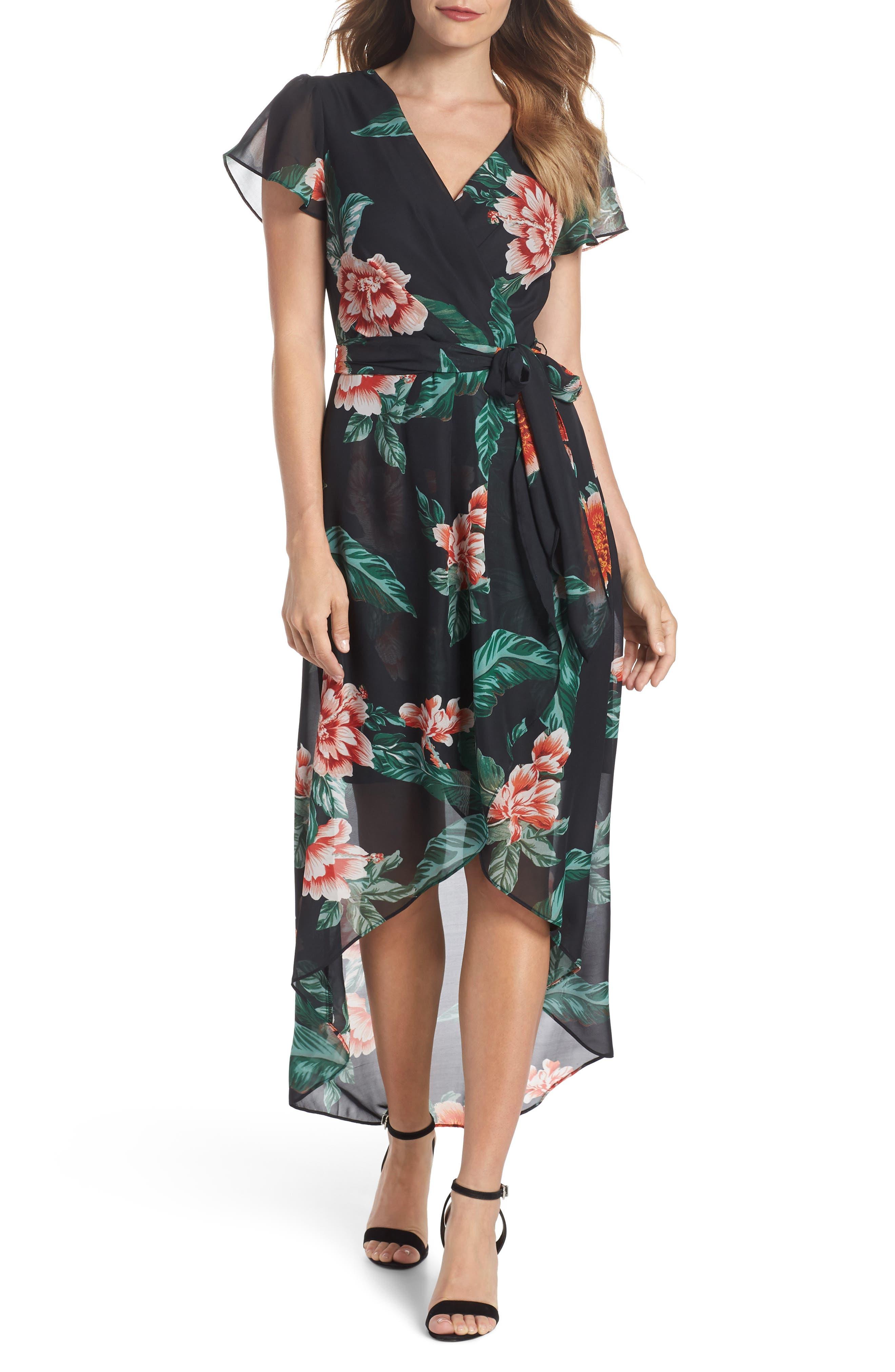 Julia Jordan Floral Print High/Low Maxi Dress
