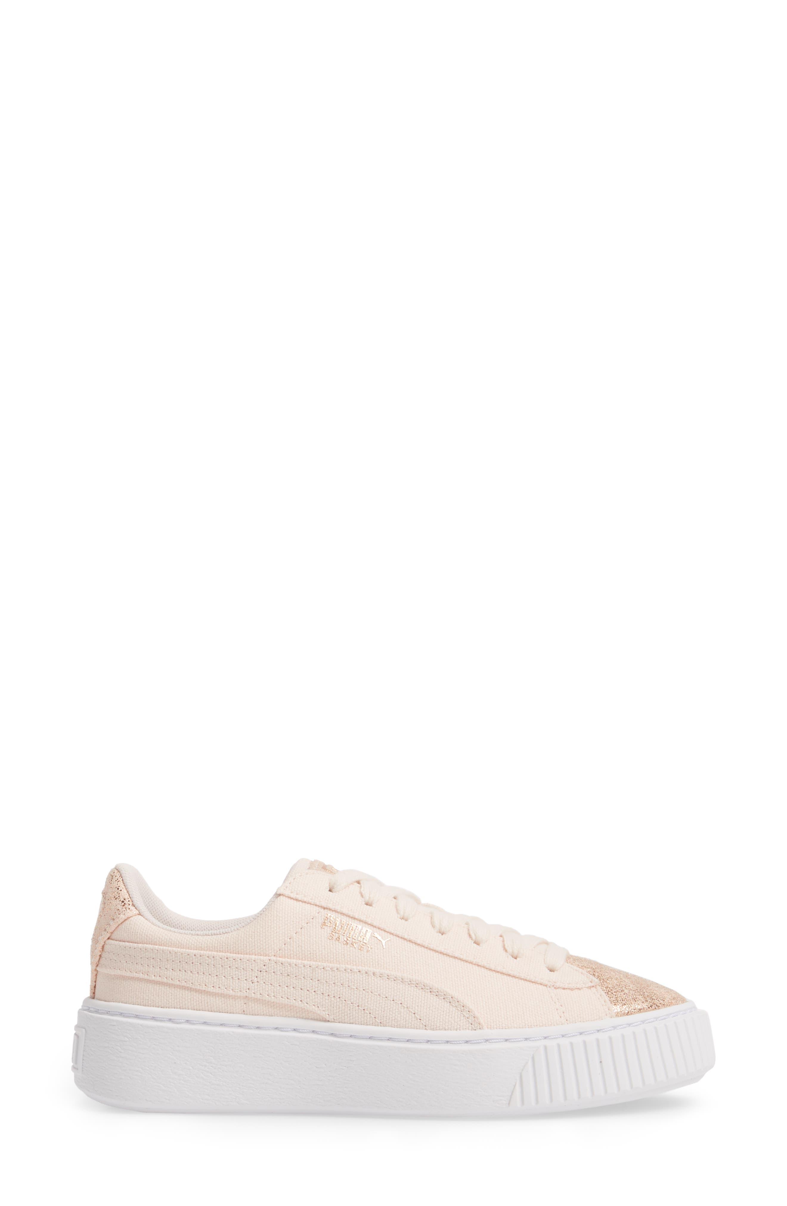 Basket Platform Sneaker,                             Alternate thumbnail 3, color,                             Pearl/ Rose Gold