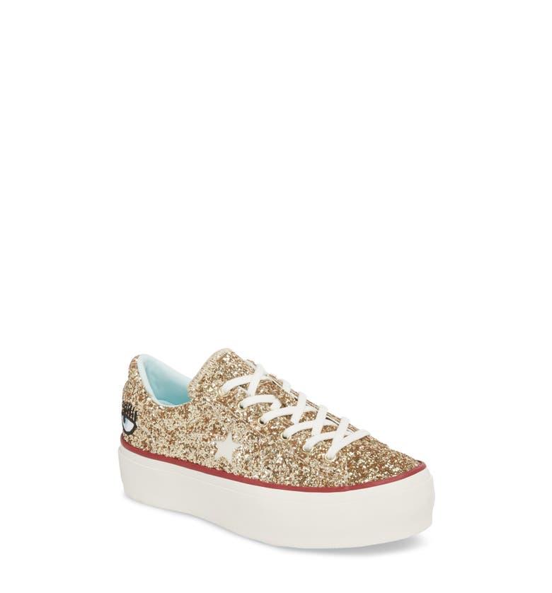 21d8564f4d62 Converse Women s One Star Platform X Chiara Ferragni Glitter Sneakers In  Gold
