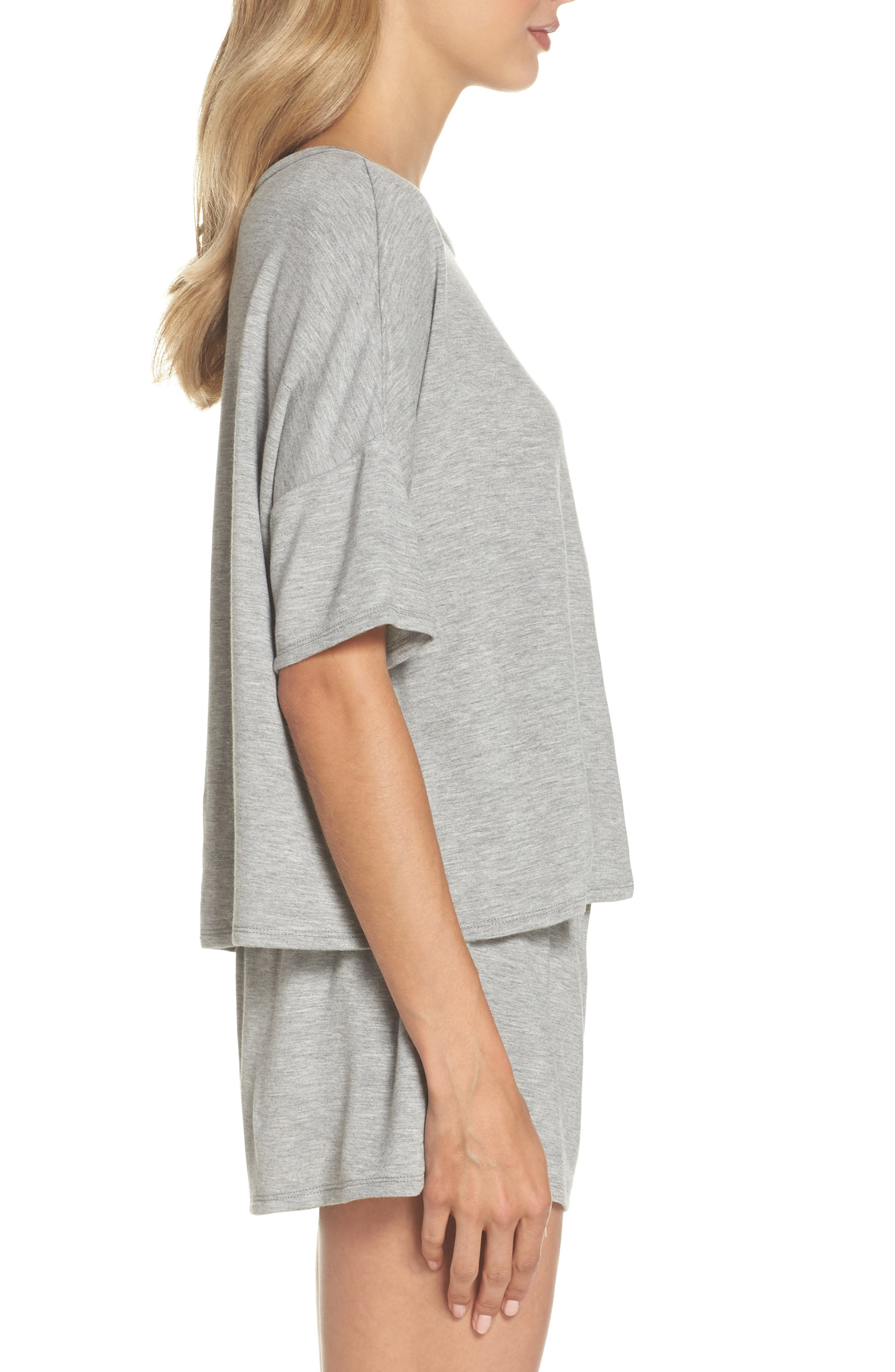 Short Pajamas,                             Alternate thumbnail 3, color,                             Heather Grey