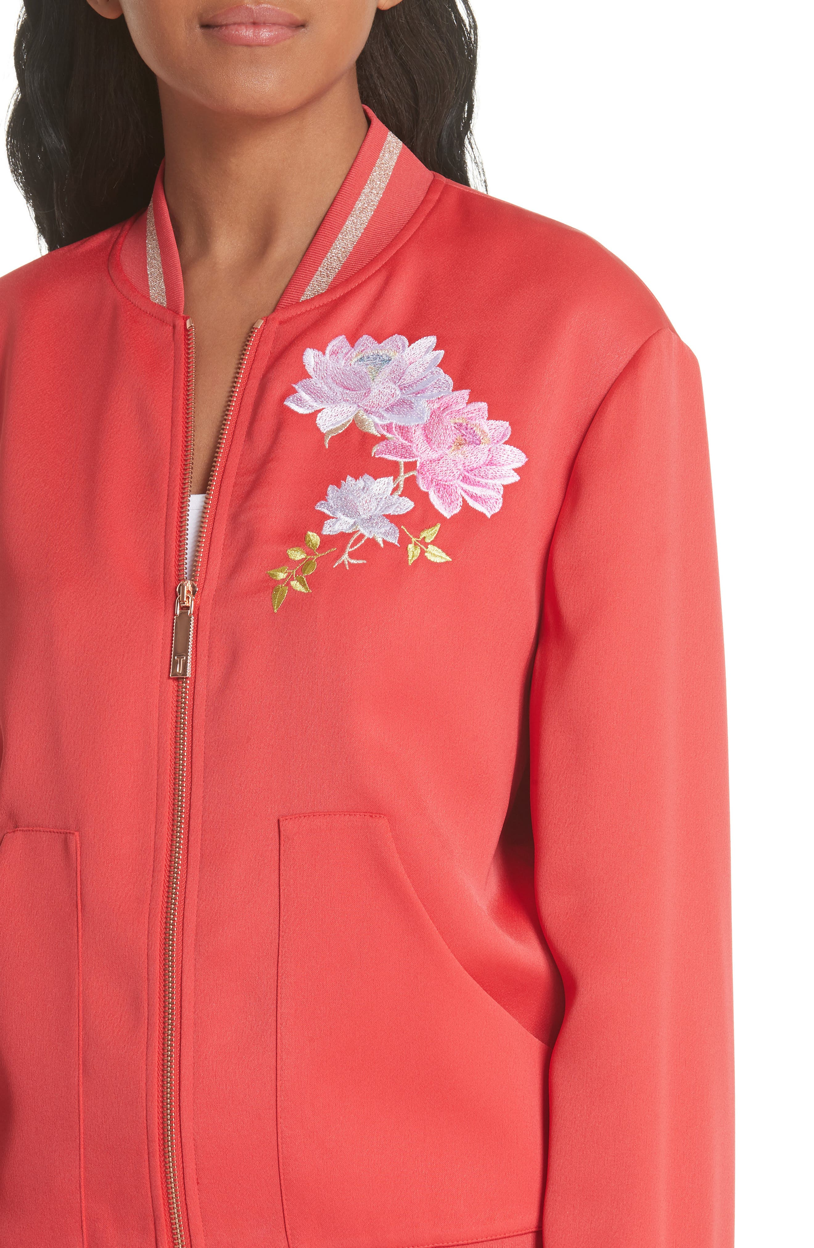 Ruuthe Chinoiserie Embroidery Jacket,                             Alternate thumbnail 4, color,                             Bright Red