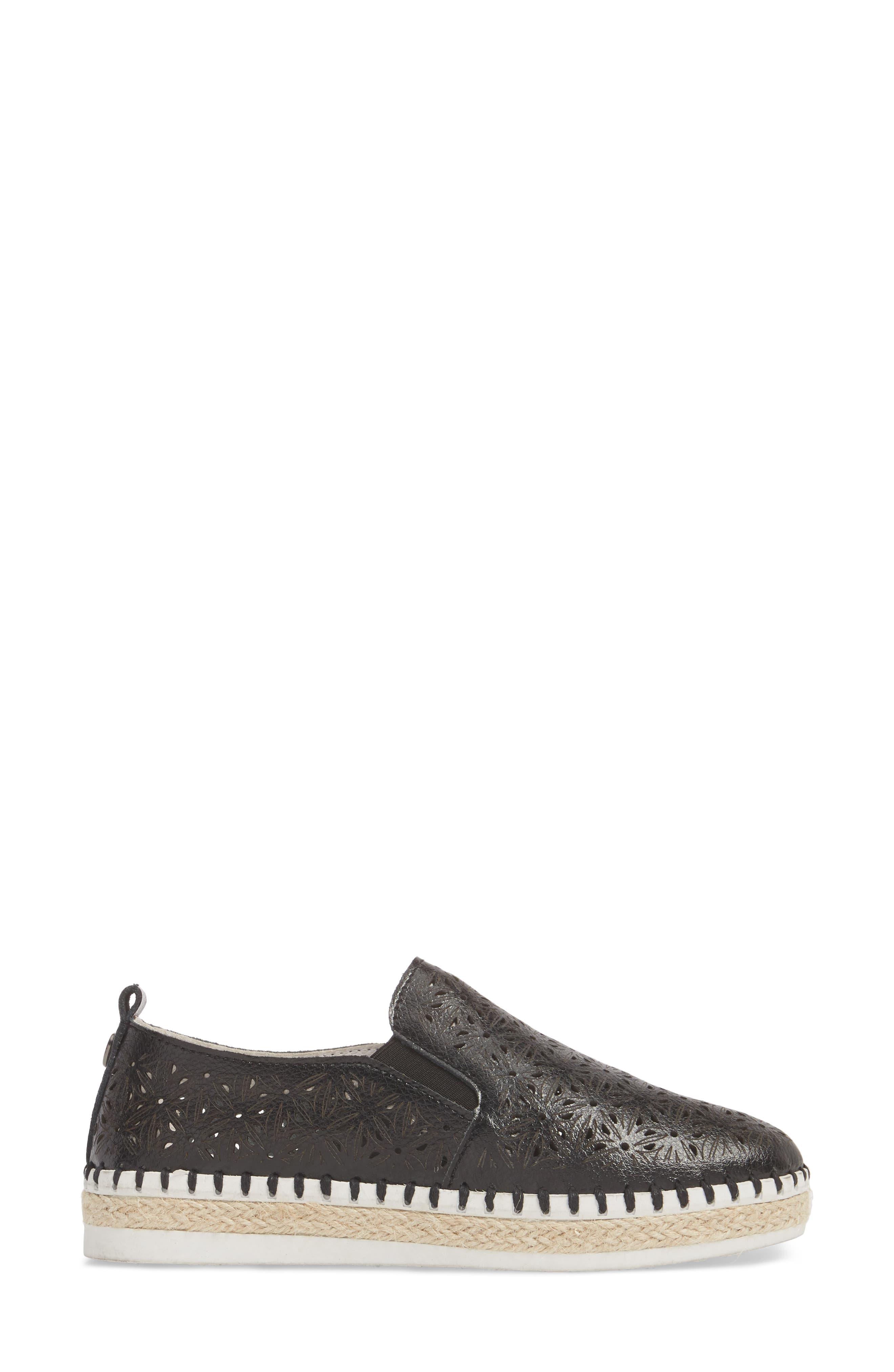 TW101 Espadrille Flat,                             Alternate thumbnail 3, color,                             Black Leather