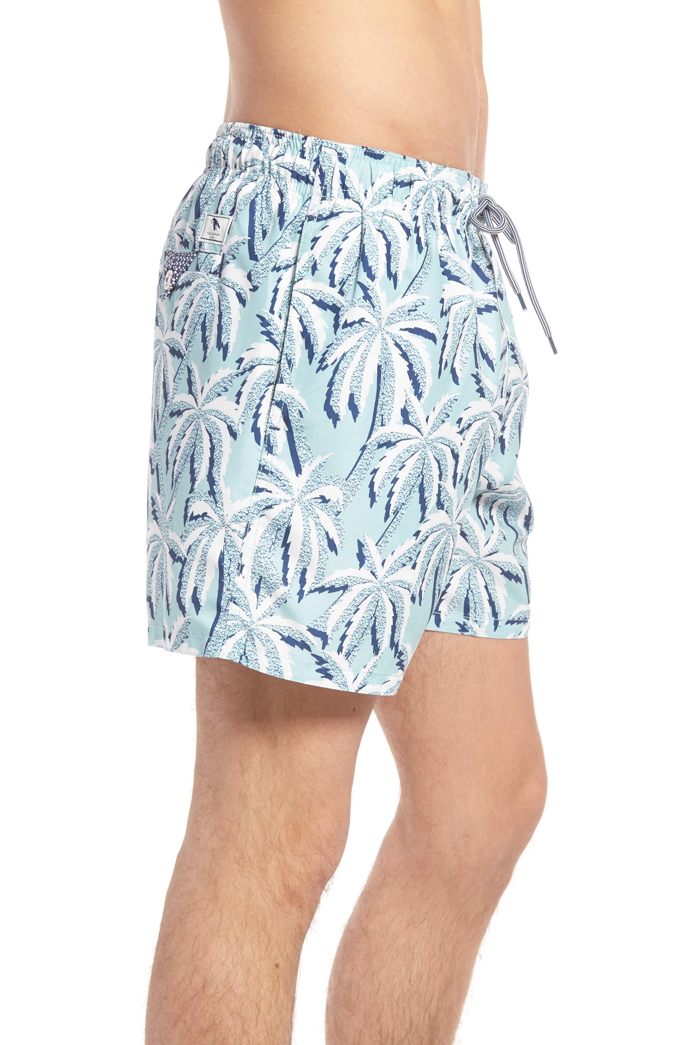 Hoppah Palm Print Swim Shorts,                             Alternate thumbnail 3, color,                             Mint