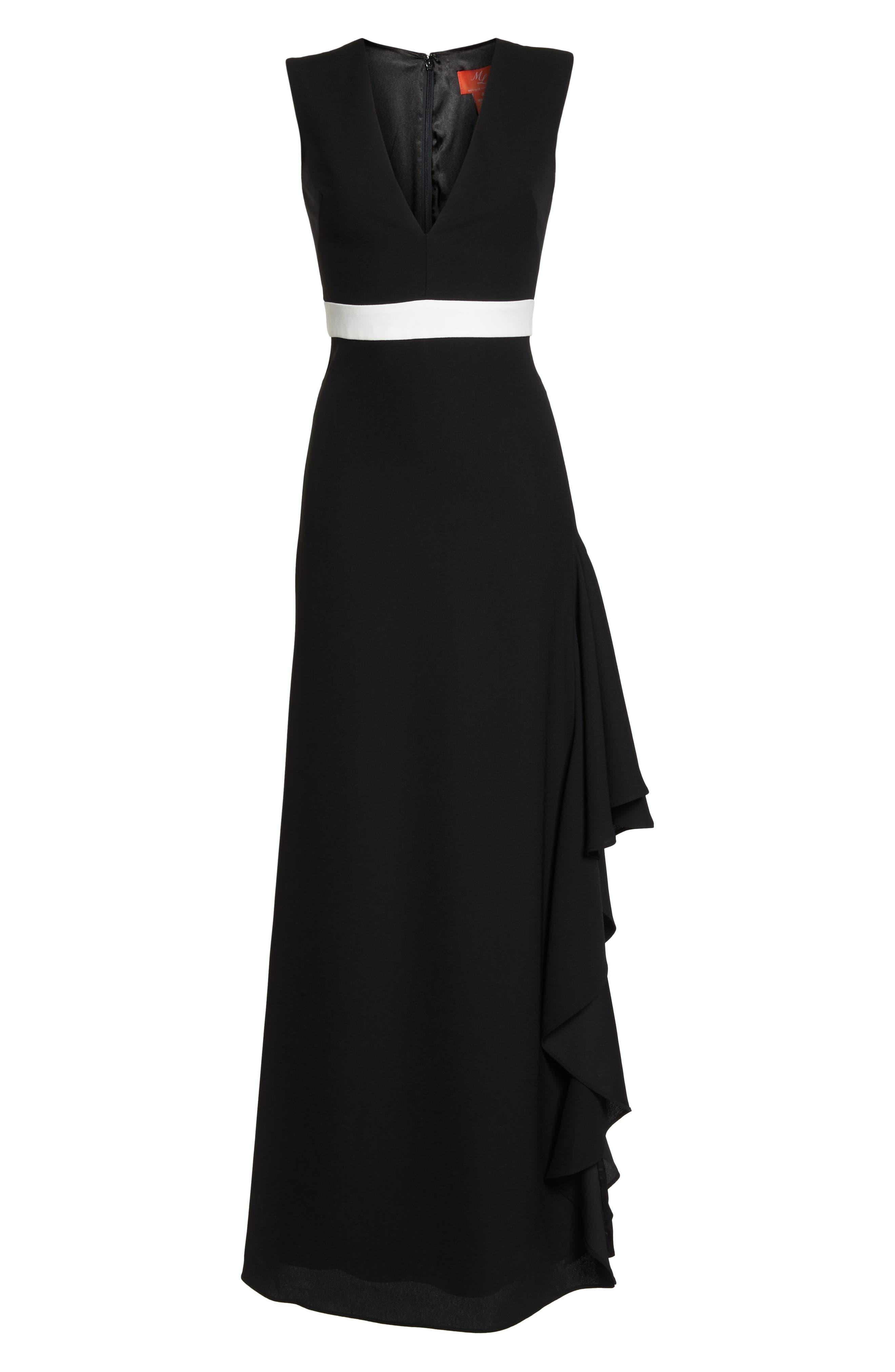 ML Monique Lhullier Sleeveless Crepe Gown,                             Alternate thumbnail 6, color,                             Black/ White