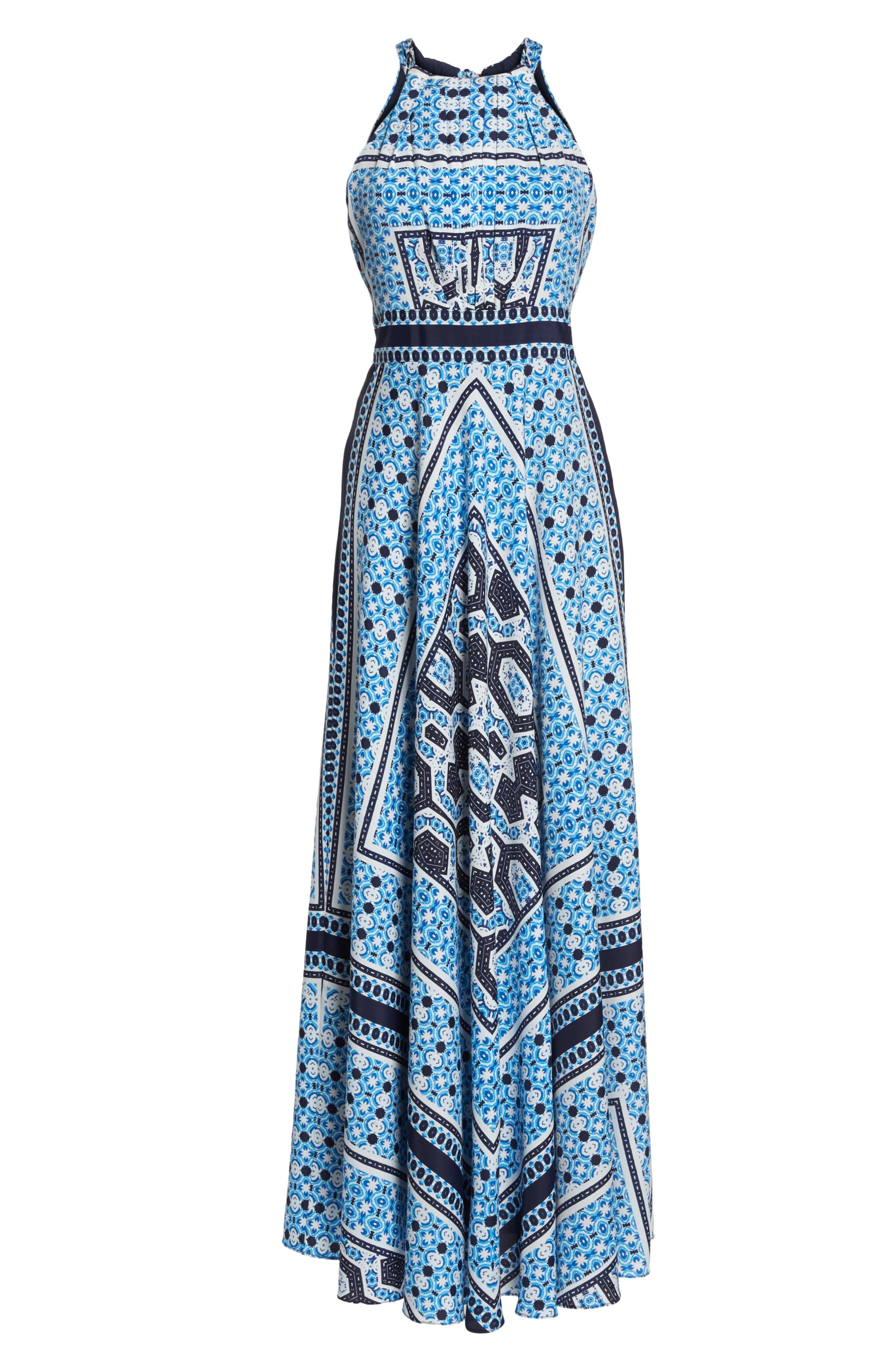 Scarf Print Halter Neck Maxi Dress,                             Alternate thumbnail 7, color,                             Blue