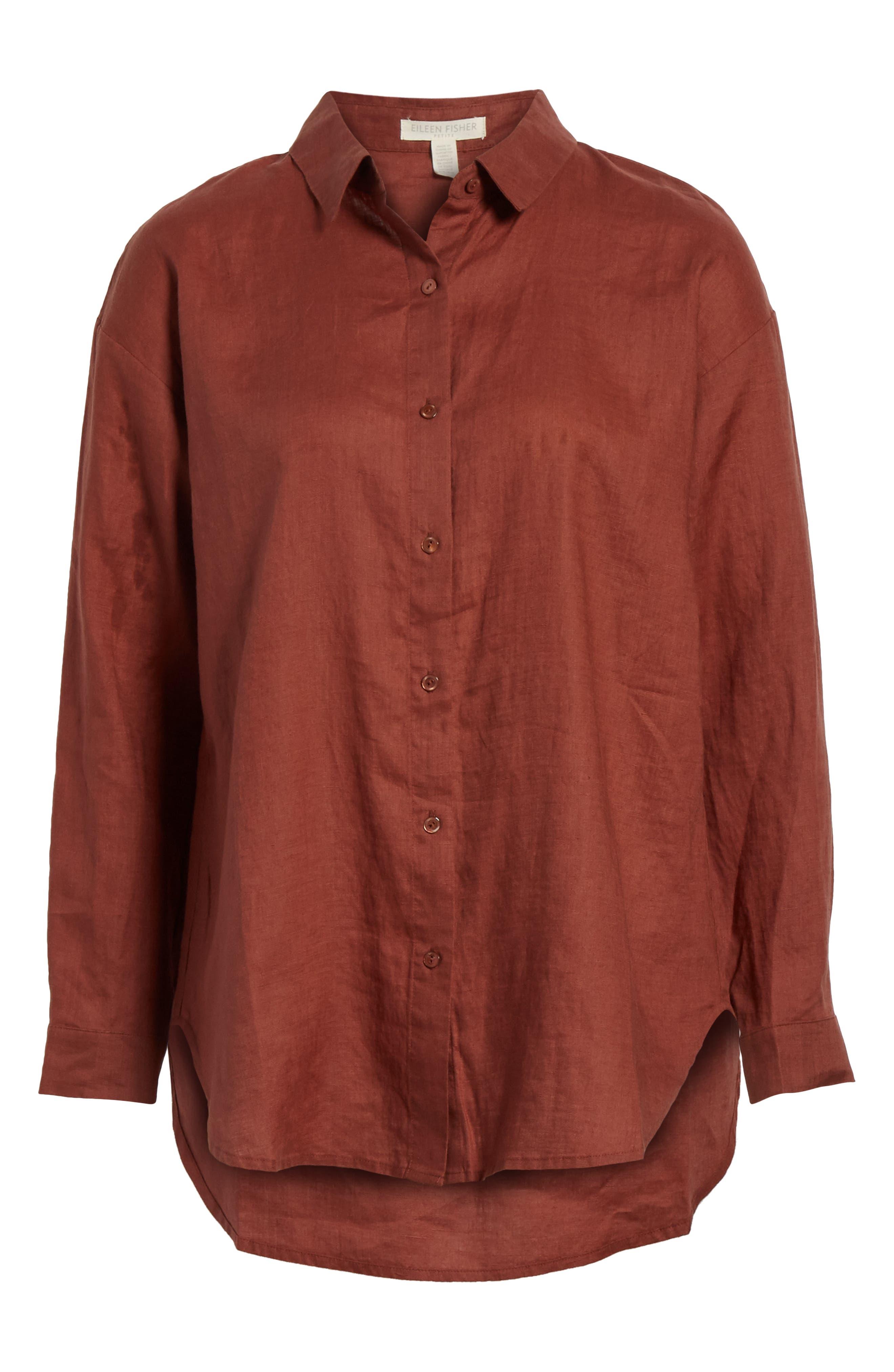 Classic Collar Linen Shirt,                             Alternate thumbnail 6, color,                             Russet