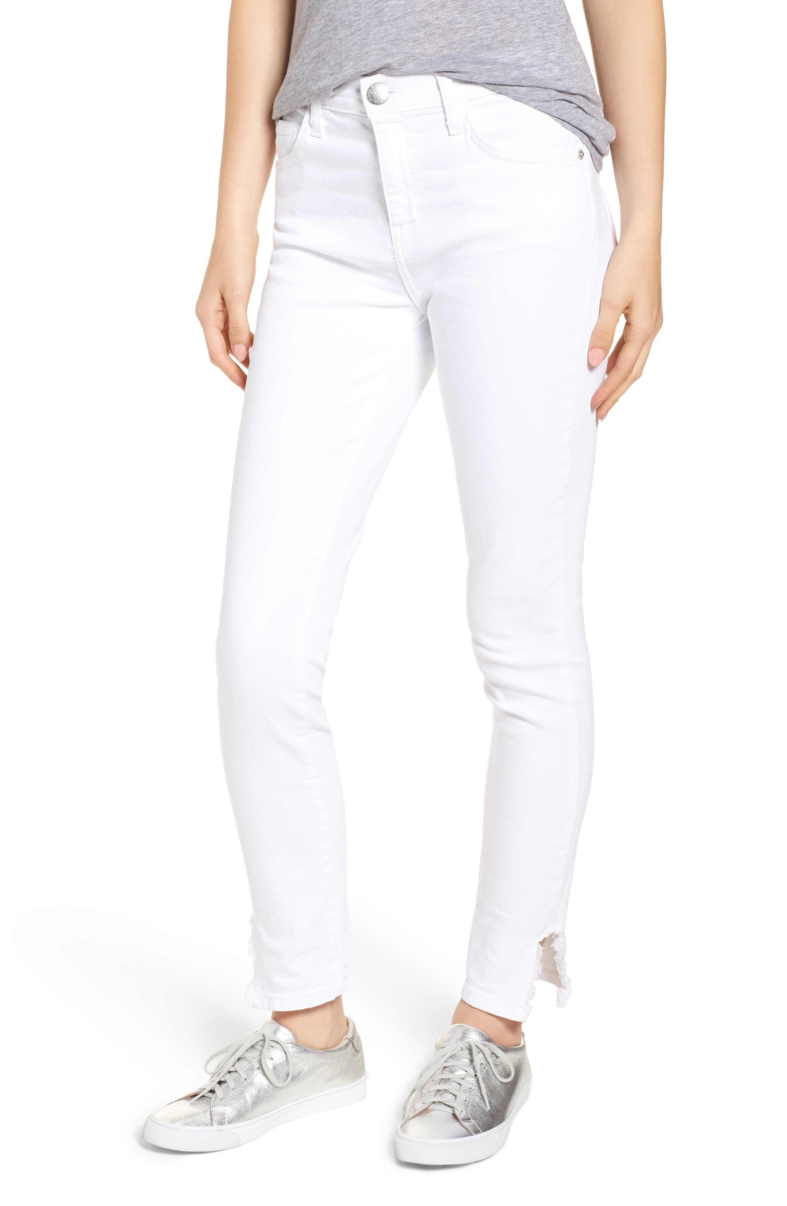 Current/Elliott Stiletto High Waist Frayed Split Hem Skinny Jeans (Sugar)