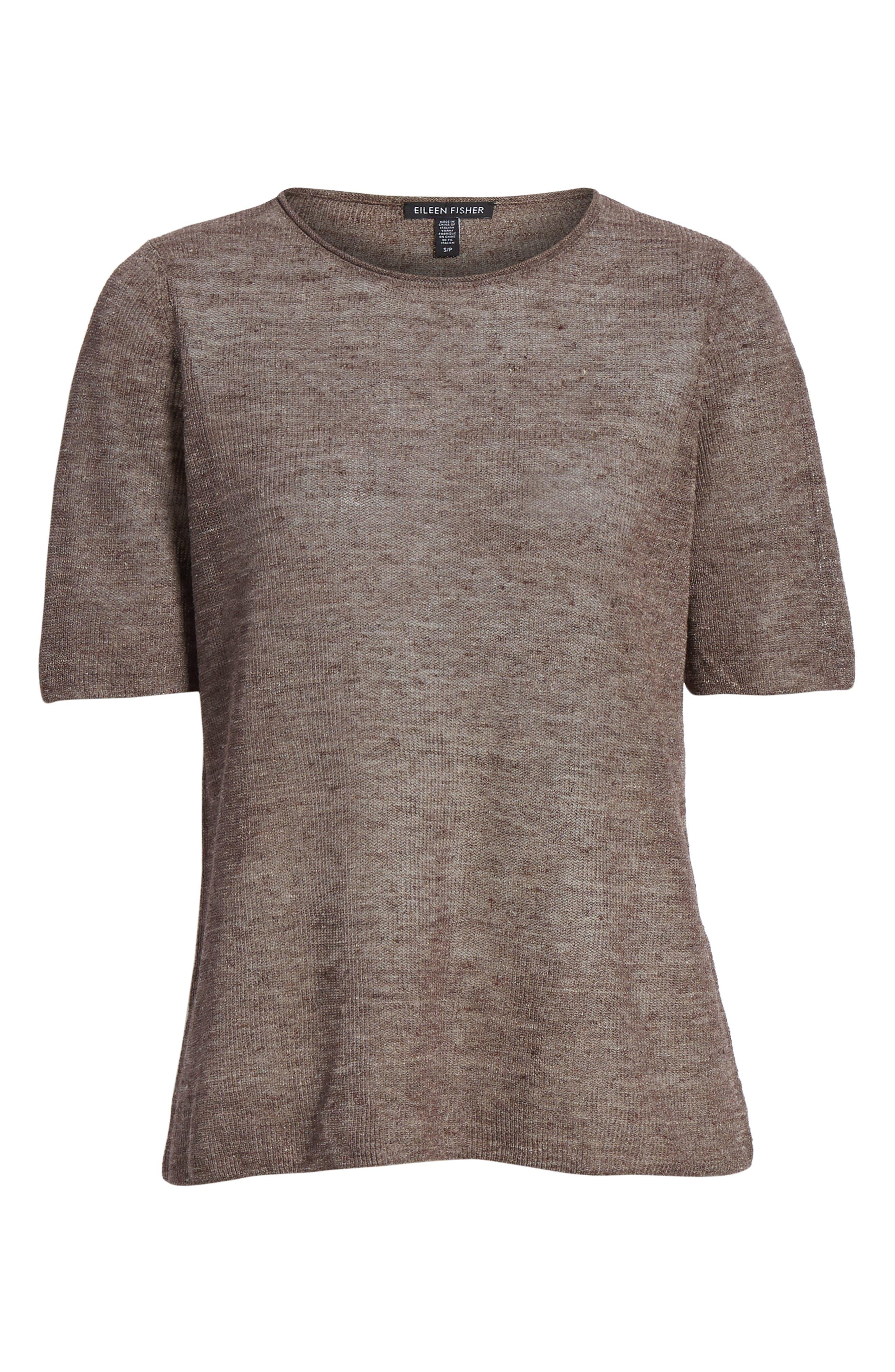 Short Sleeve Linen Blend Sweater,                             Alternate thumbnail 6, color,                             Rye