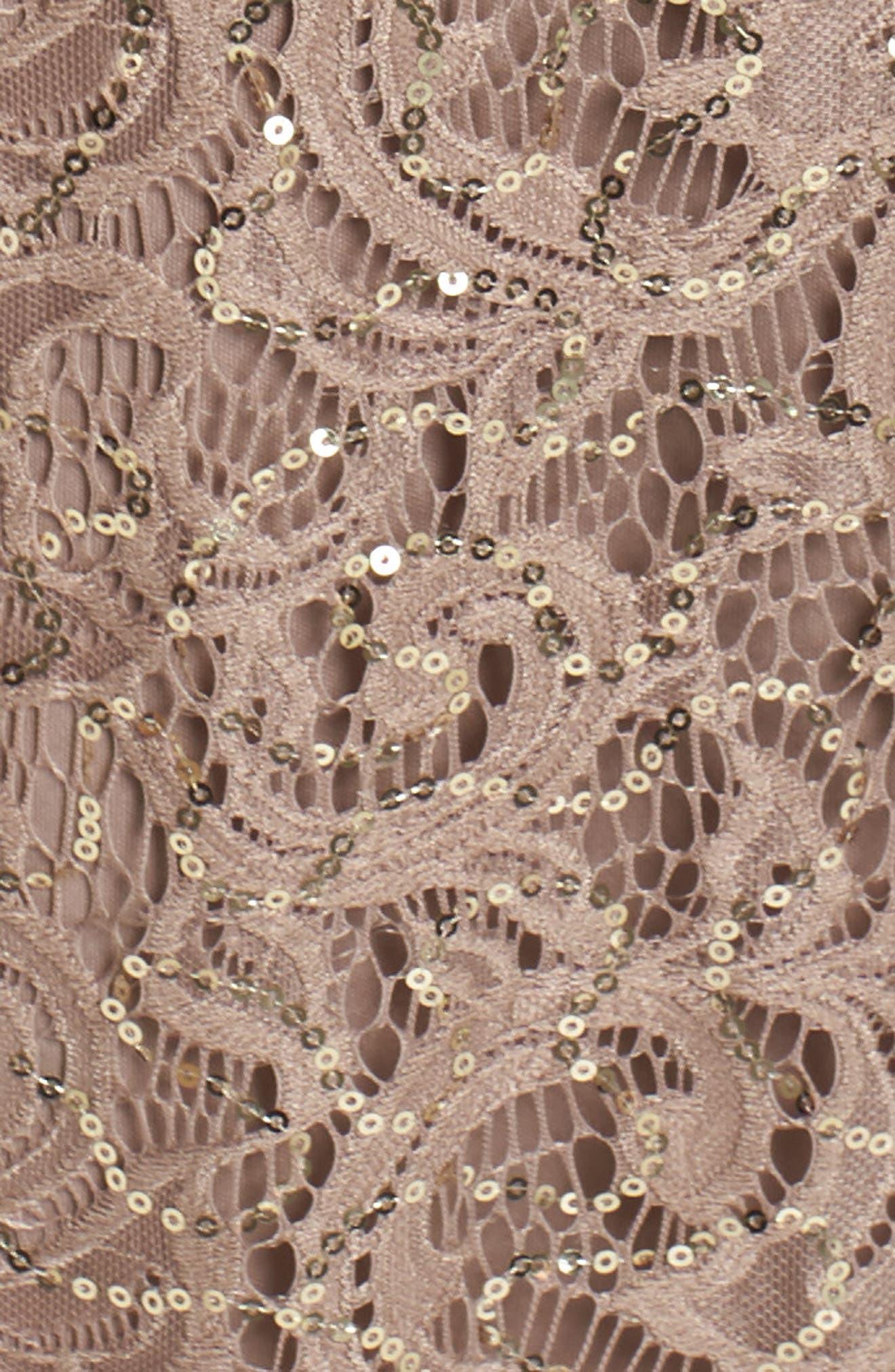 Capelet Sequin Lace A-Line Gown,                             Alternate thumbnail 5, color,                             Mocha