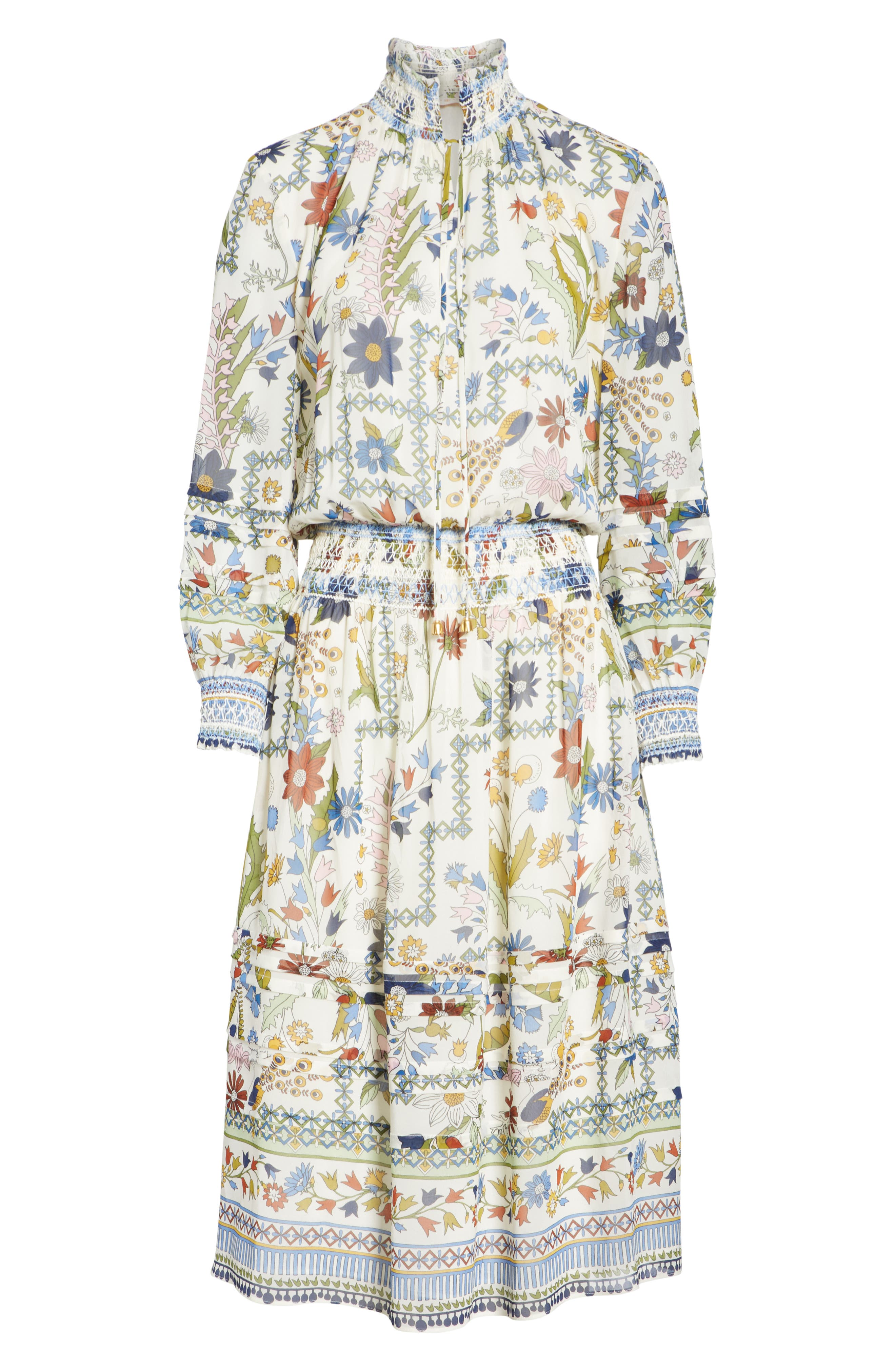 Waverly Floral Print Silk Midi Dress,                             Alternate thumbnail 6, color,                             Ivory Meadow Folly