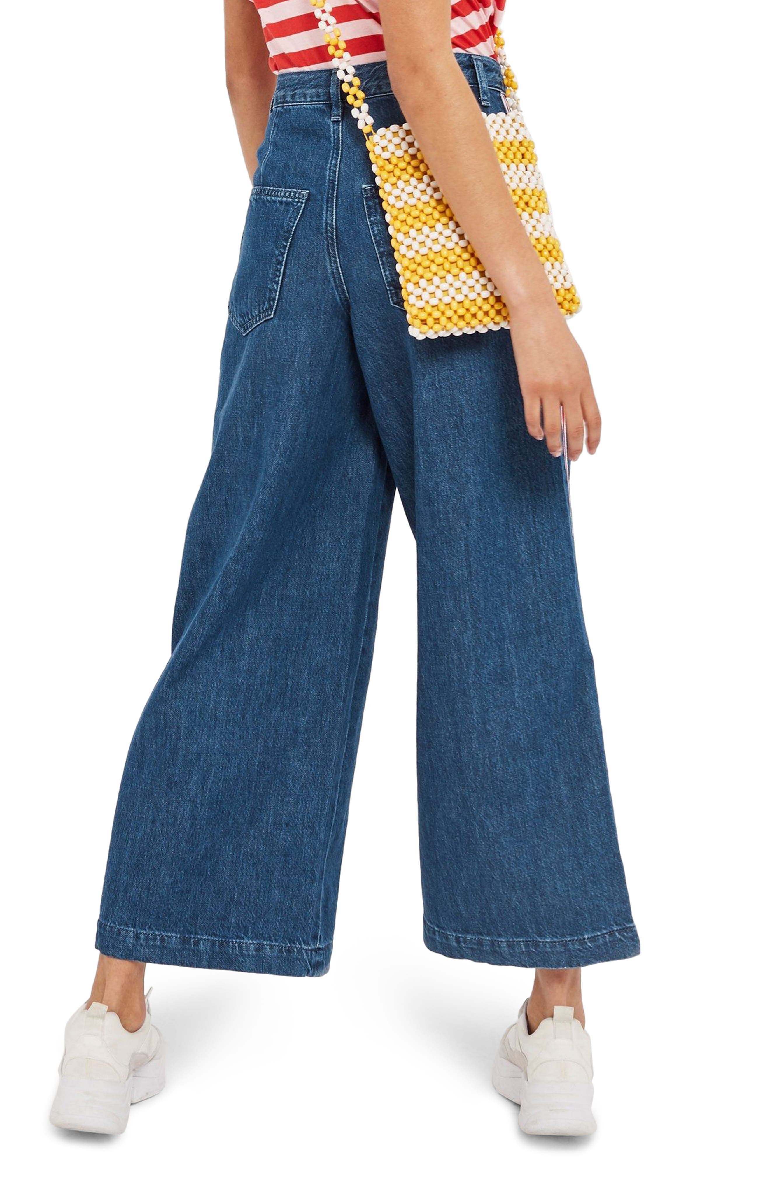 MOTO Stripe Wide Leg Non-Stretch Jeans,                             Alternate thumbnail 2, color,                             Blue Multi