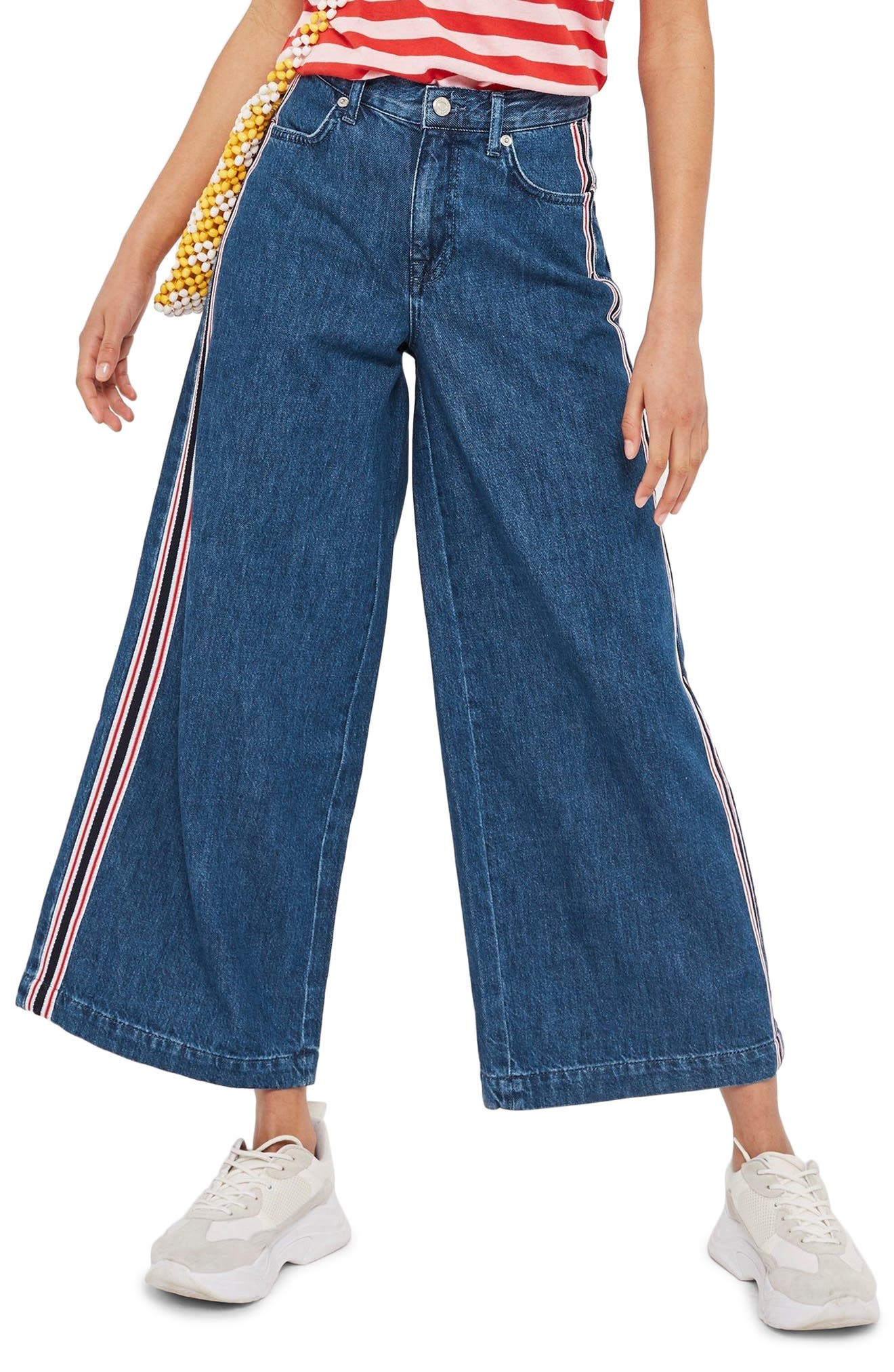MOTO Stripe Wide Leg Non-Stretch Jeans,                         Main,                         color, Blue Multi