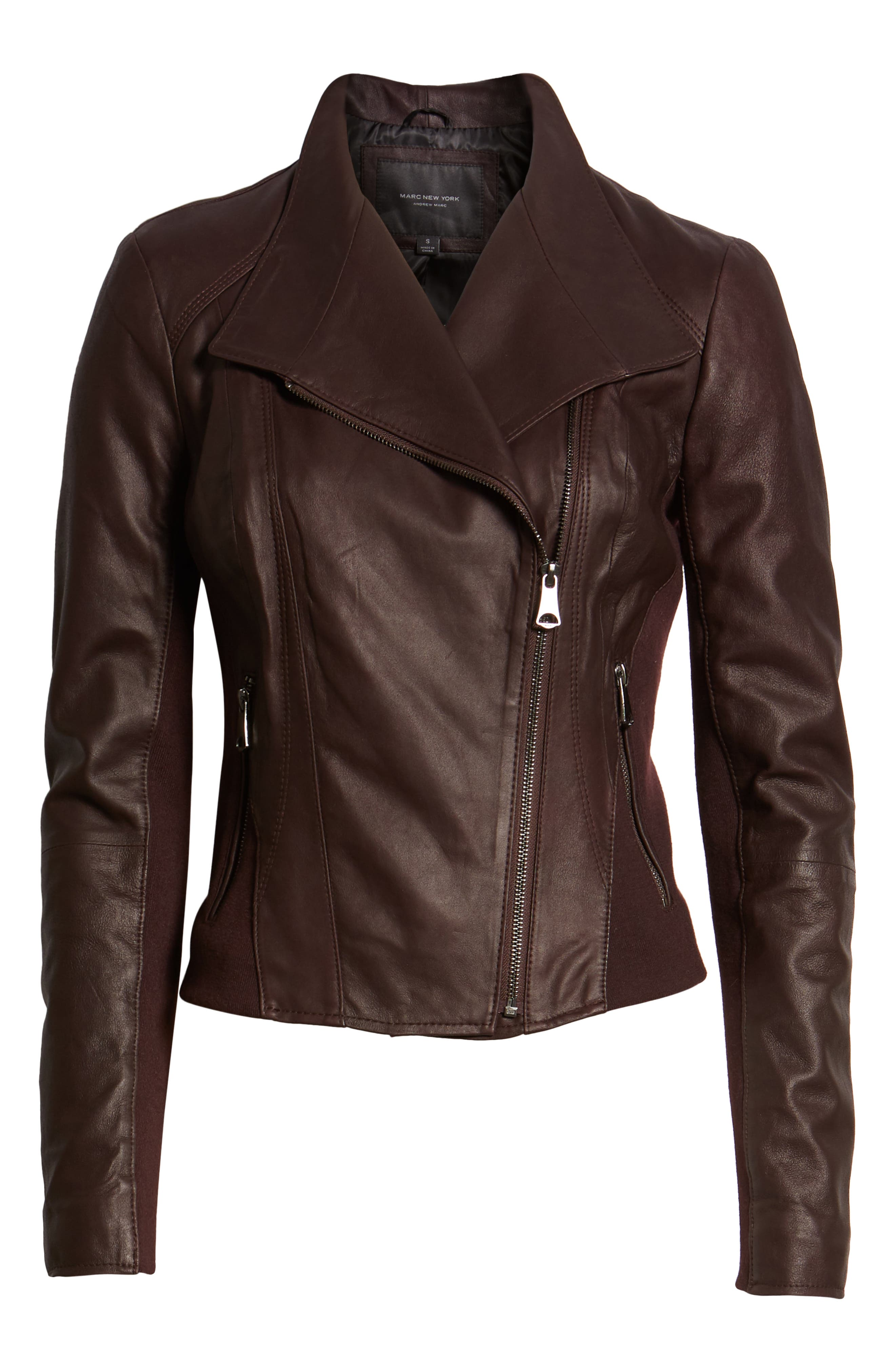 Marc New York by Andrew Marc 'Felix' Stand Collar Leather Jacket,                             Alternate thumbnail 7, color,                             Burgundy