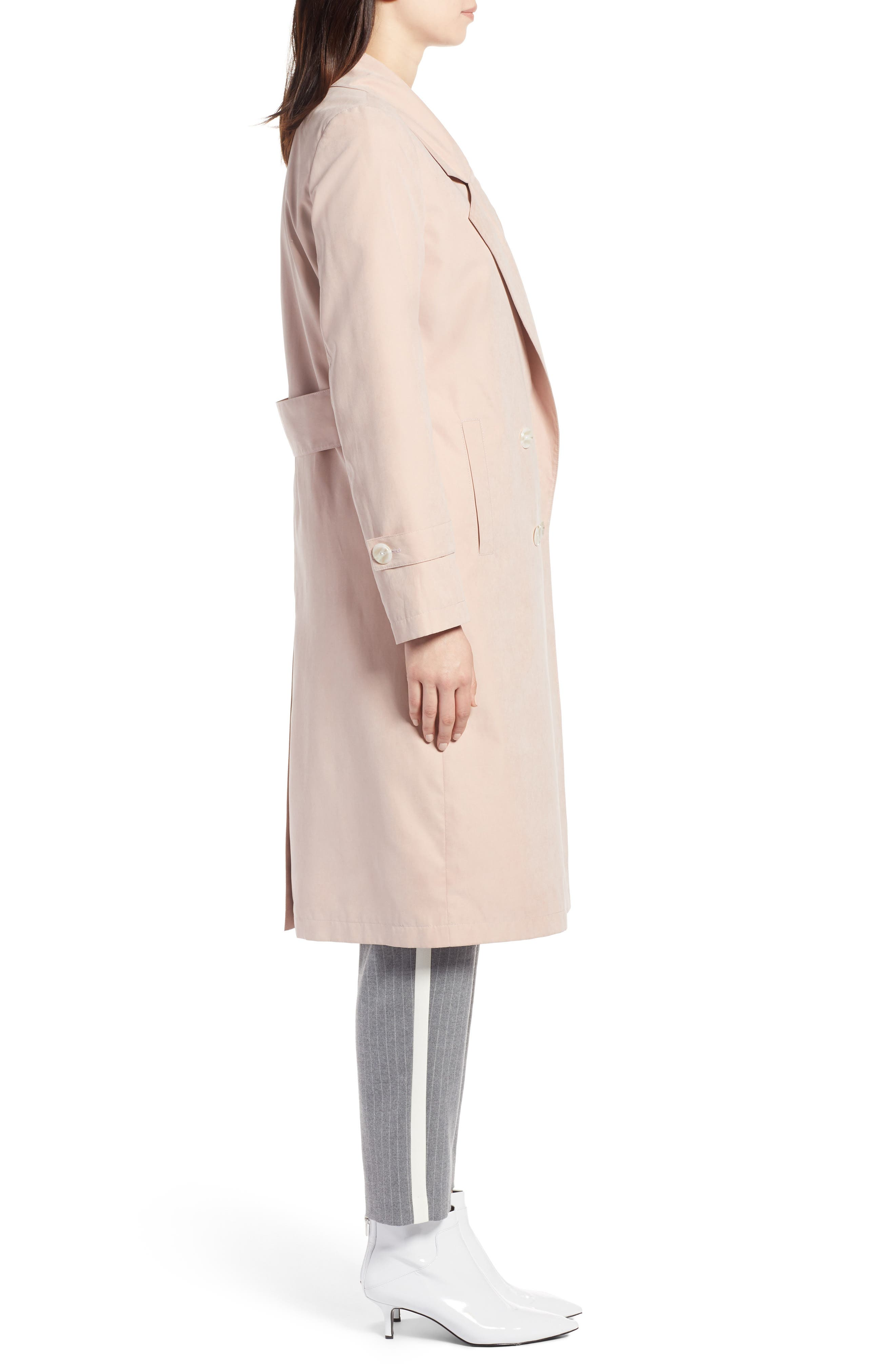 Double Breasted Trench Coat,                             Alternate thumbnail 3, color,                             Blush