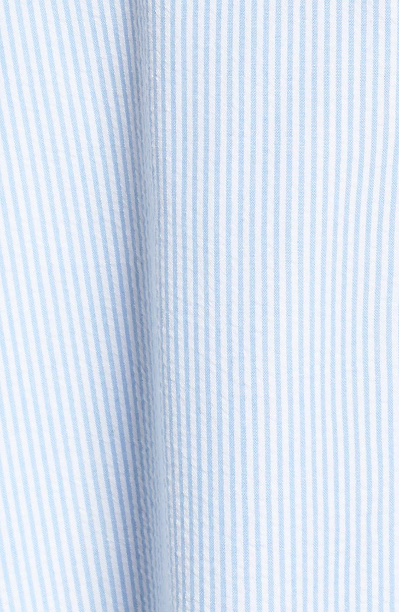 Sleeveless Stripe Seersucker Shirtdress,                             Alternate thumbnail 6, color,                             Blue/ White