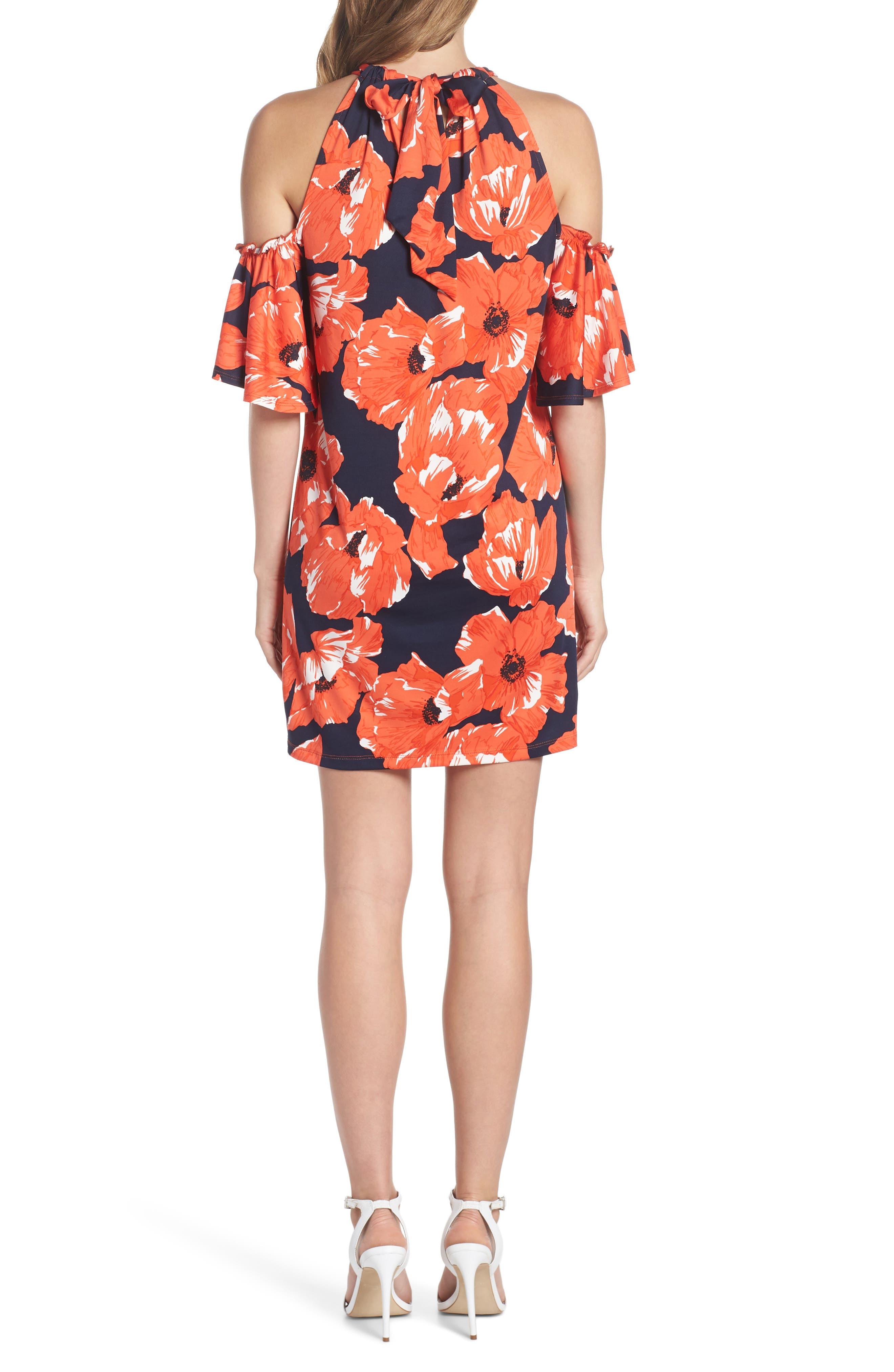 Lexi Poppy Cold Shoulder Shift Dress,                             Alternate thumbnail 2, color,                             Indigo/ Red Ginger